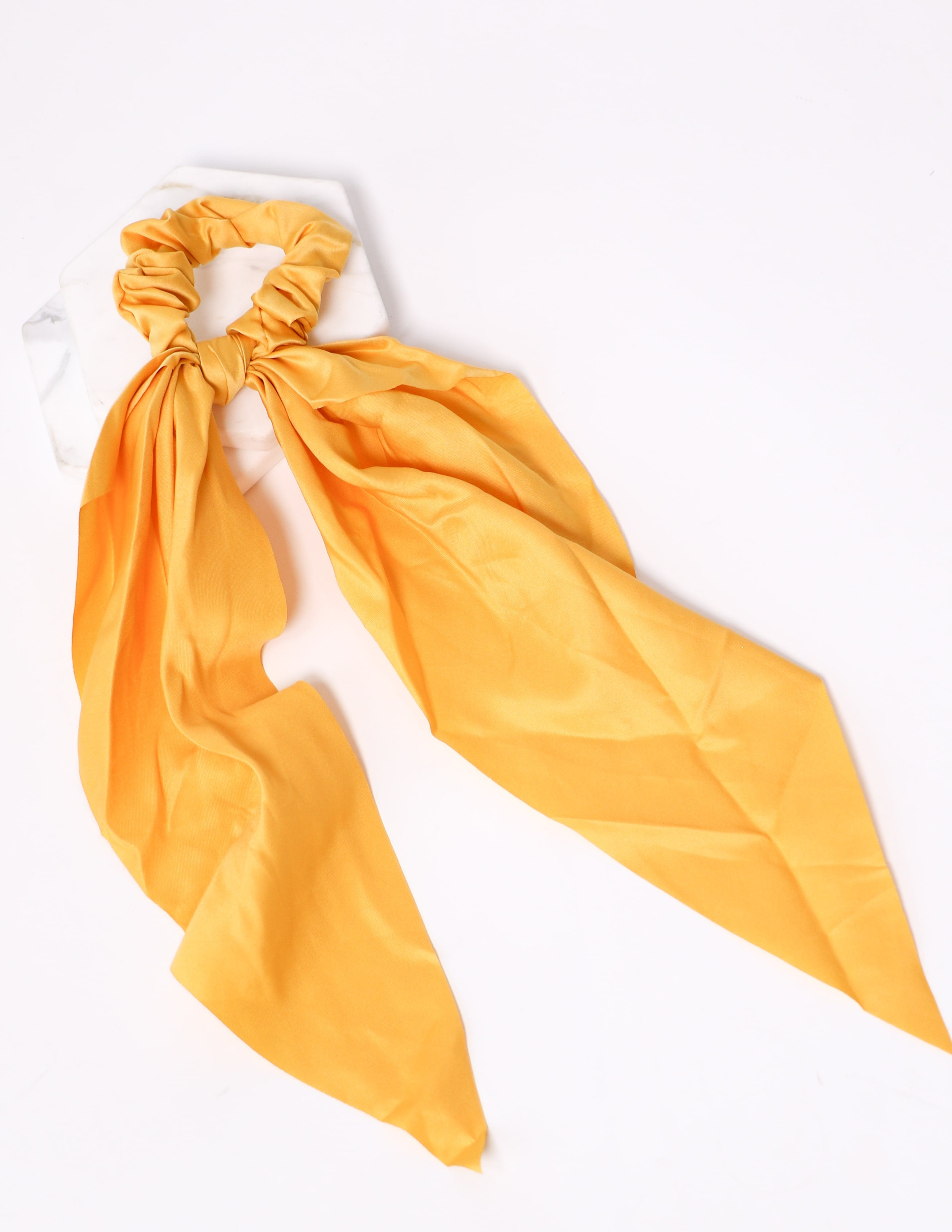 Tie it up scrunchie in mustard on white background - elle bleu shoes