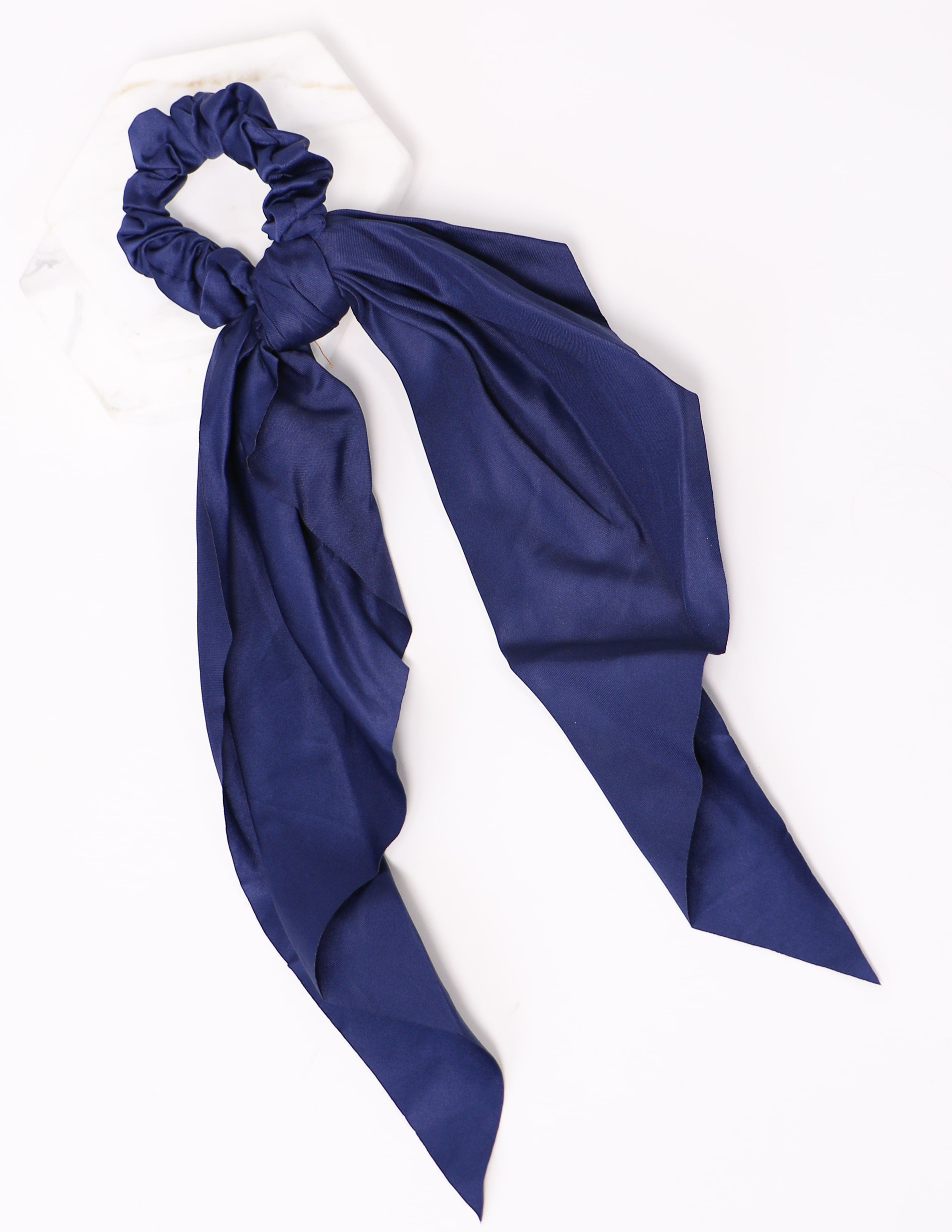 navy tie it up scrunchie on white background - elle blue shoes