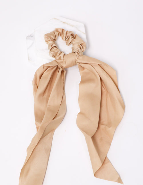 Tie it up tan scrunchie on white background - elle bleu shoes