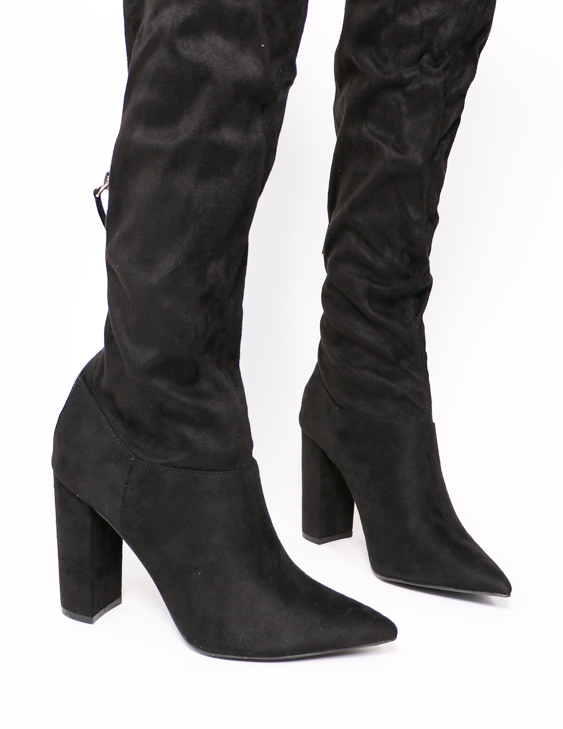 Close up of the thigh's the limit boot in black - elle bleu shoes