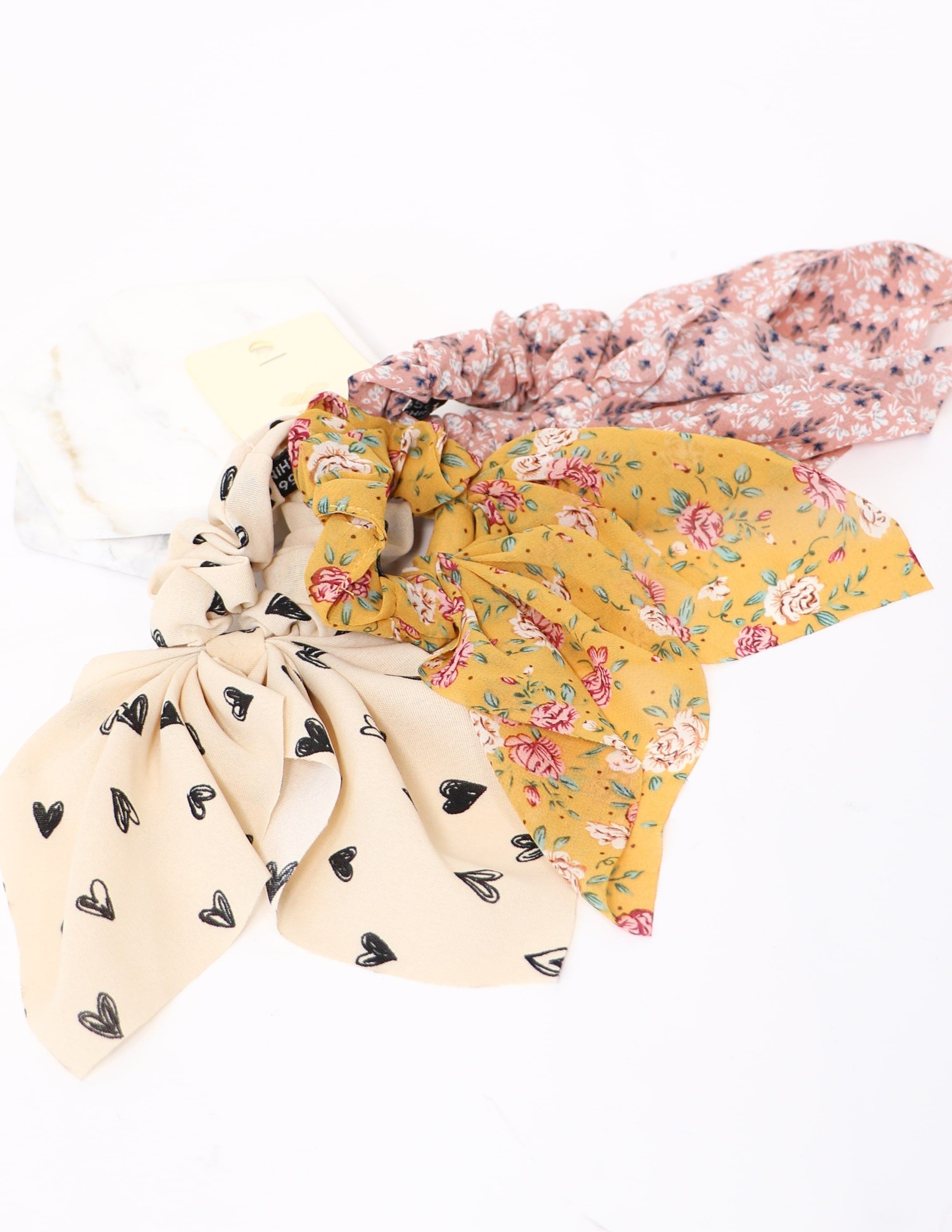 Cream hearts, mustard rose, and pink floral scrunchies - elle bleu shoes