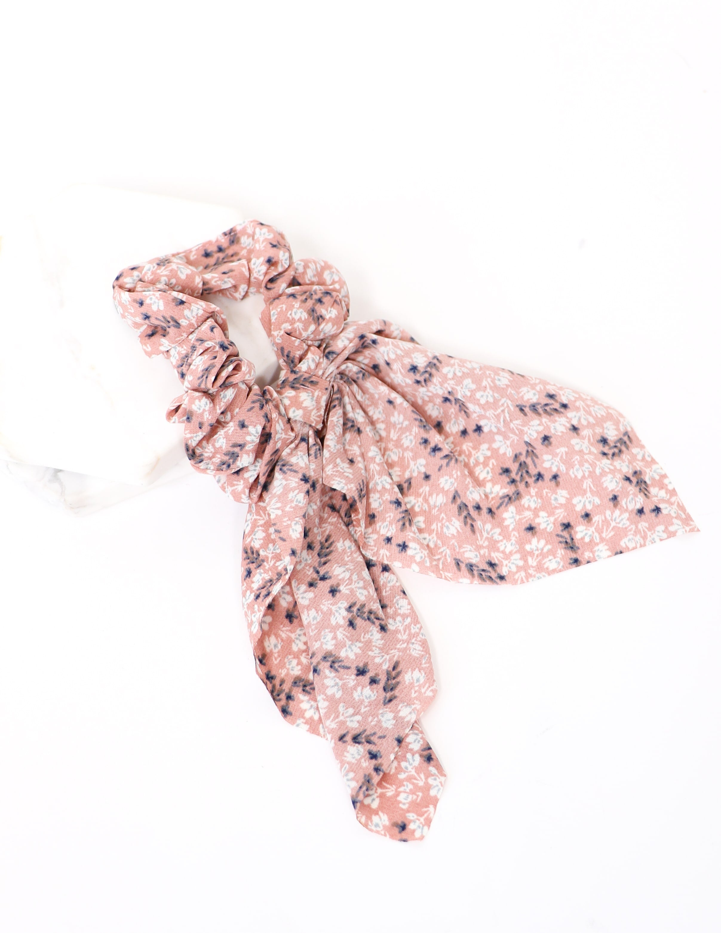 Pink floral bestest friends scrunchie on white background - elle bleu shoes