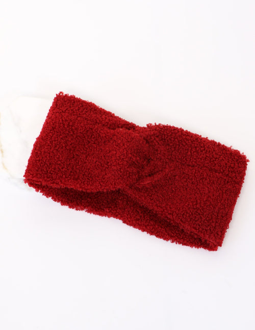 Wine fuzzy face head wrap on white background - elle bleu shoes