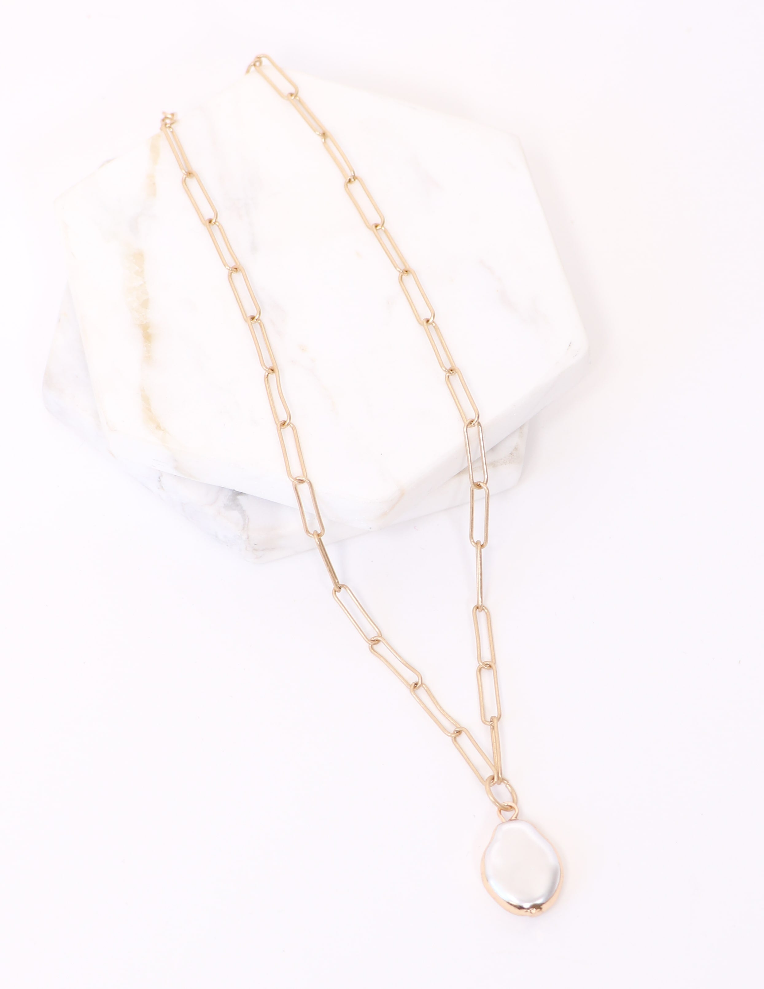 Gold chain necklace with pearl inspired pendant - elle bleu shoes
