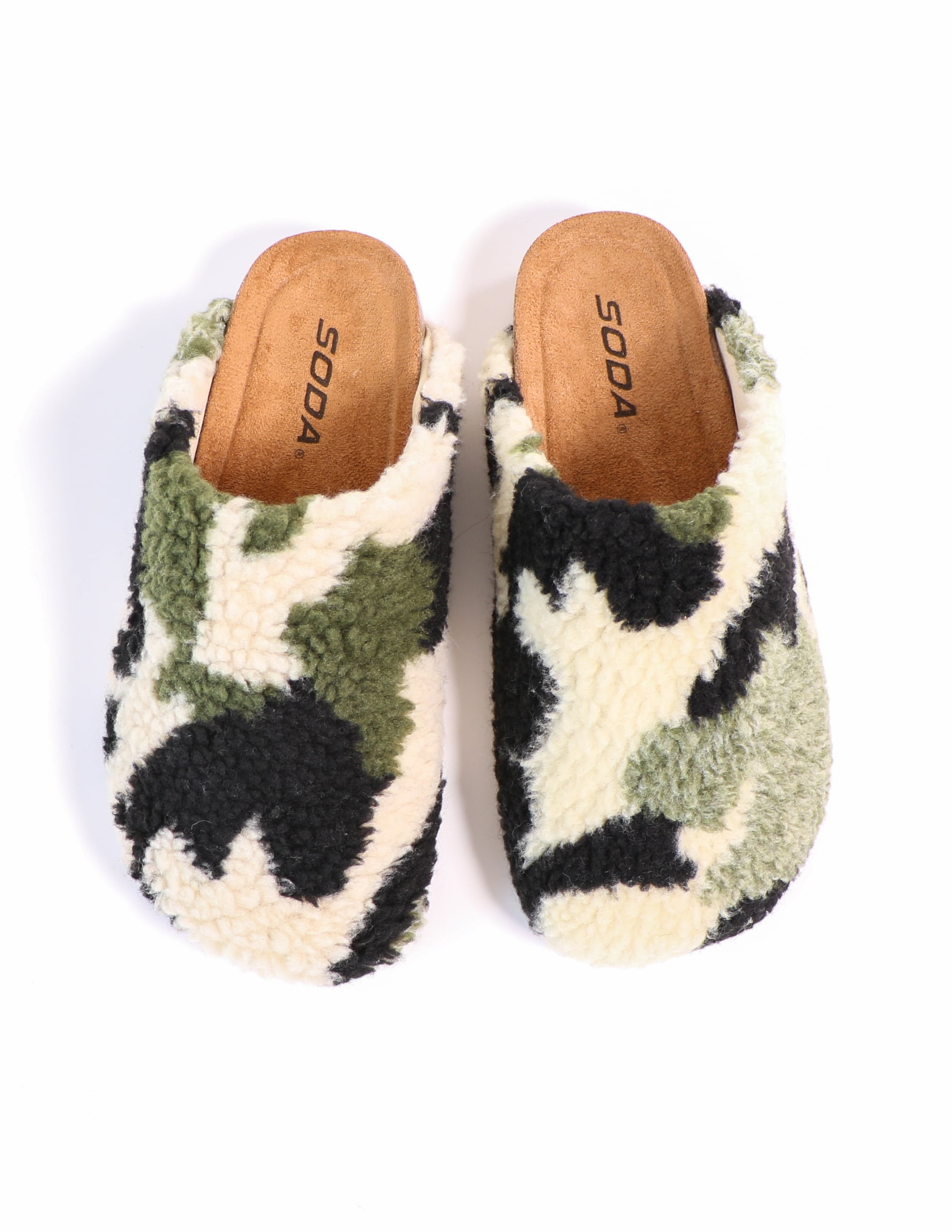 Top view of the i'm teddy to go camo slip on clogs - elle bleu shoes