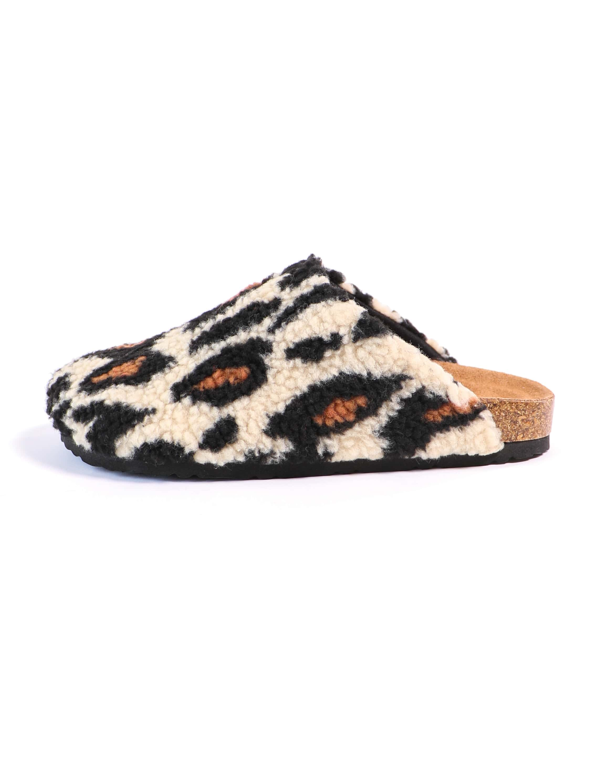 Leopard i'm teddy to go clog with shearling upper - elle bleu shoes