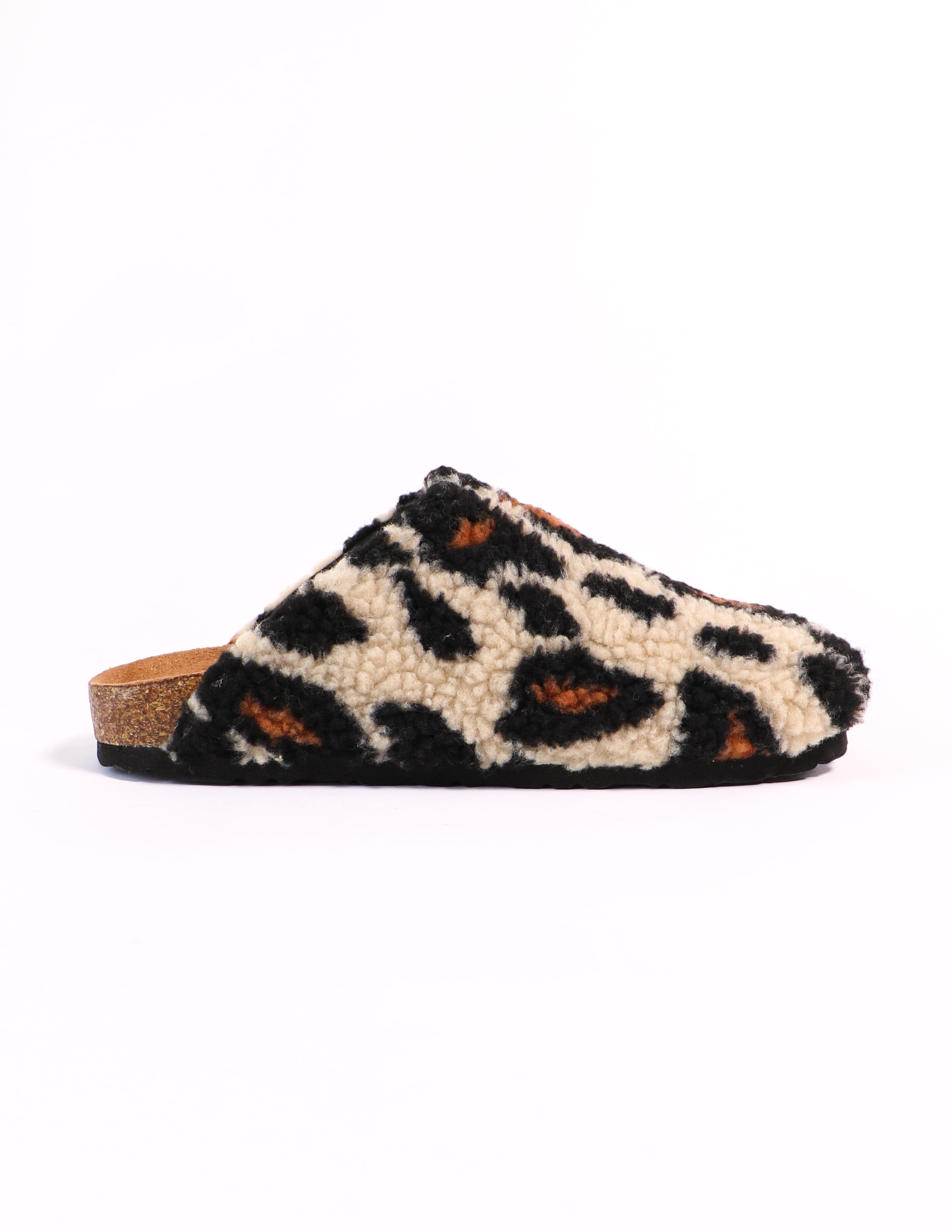 I'm teddy to go shearling slip on clog in leopard - elle bleu shoes
