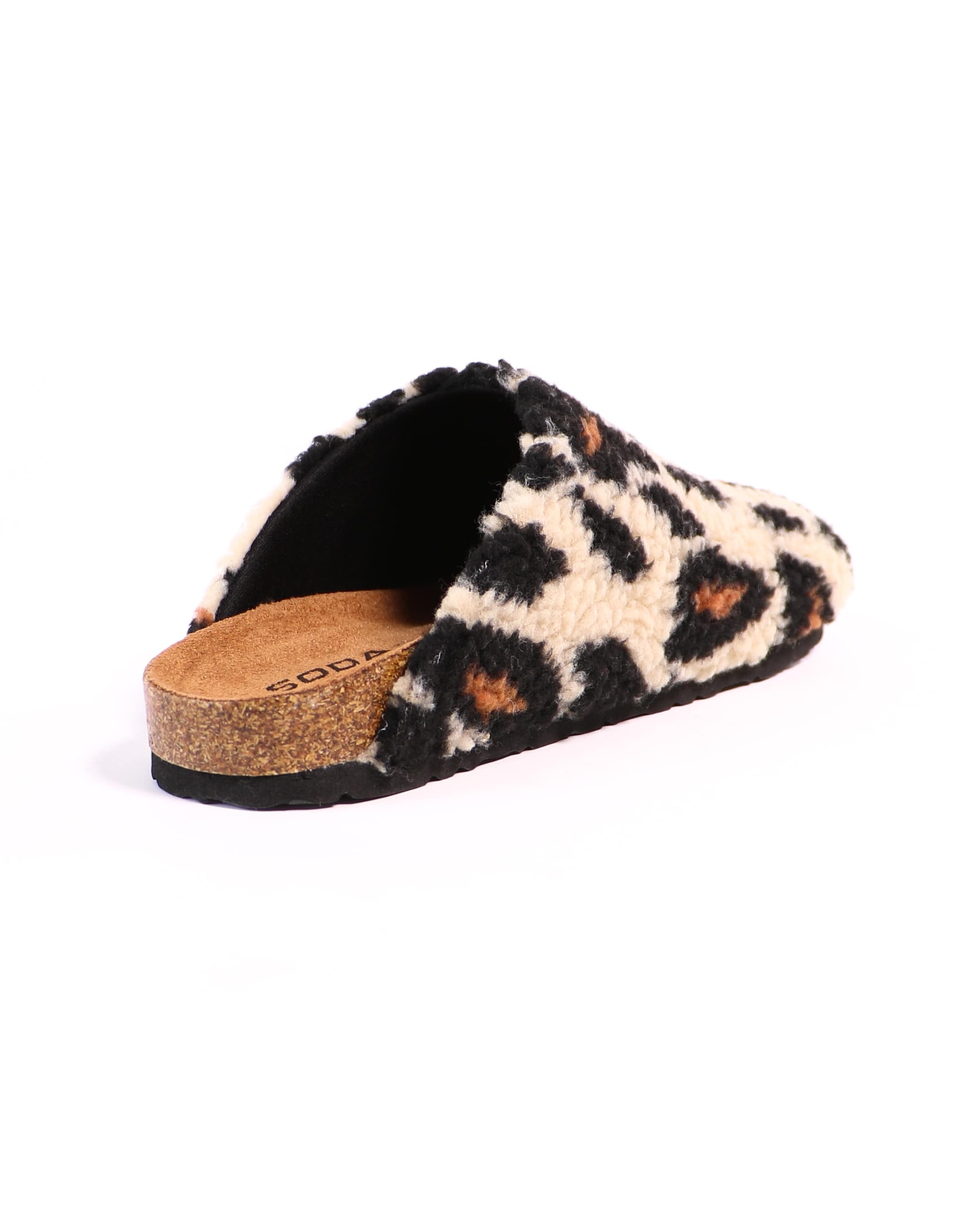 Inside view of the leopard i'm teddy to go clog  - elle bleu shoes