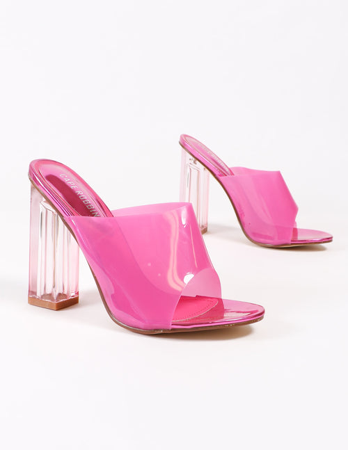 tickled pink heels in pink on white background - elle bleu shoes