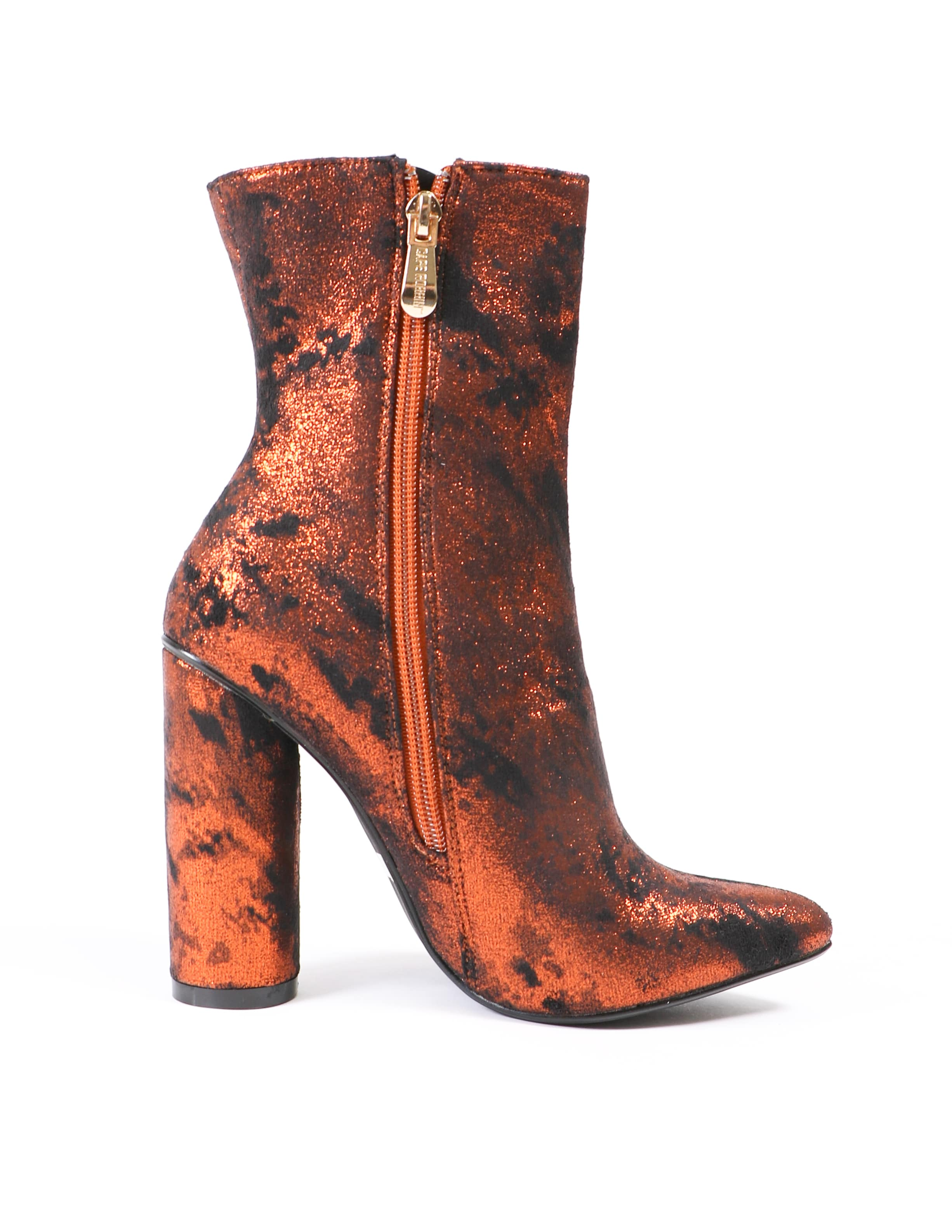 Inner zipper on the rust metallic fitted boot - elle bleu shoes