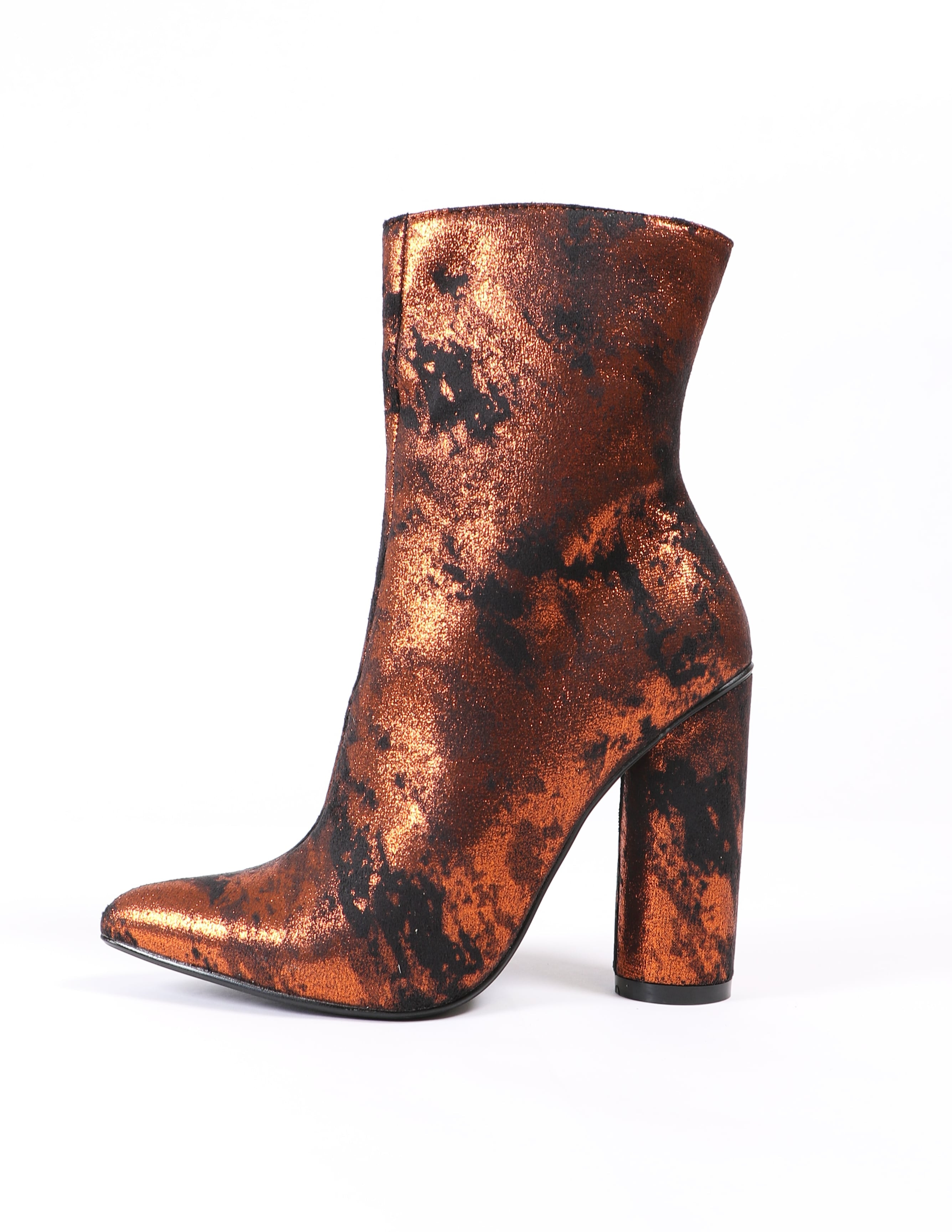 Rust colored metallic fitted ankle boots - elle bleu shoes
