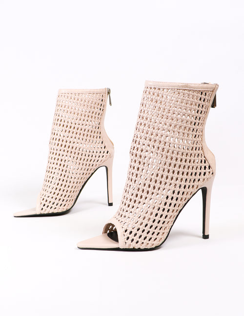 woven open toe heeled booties on white background - elle bleu
