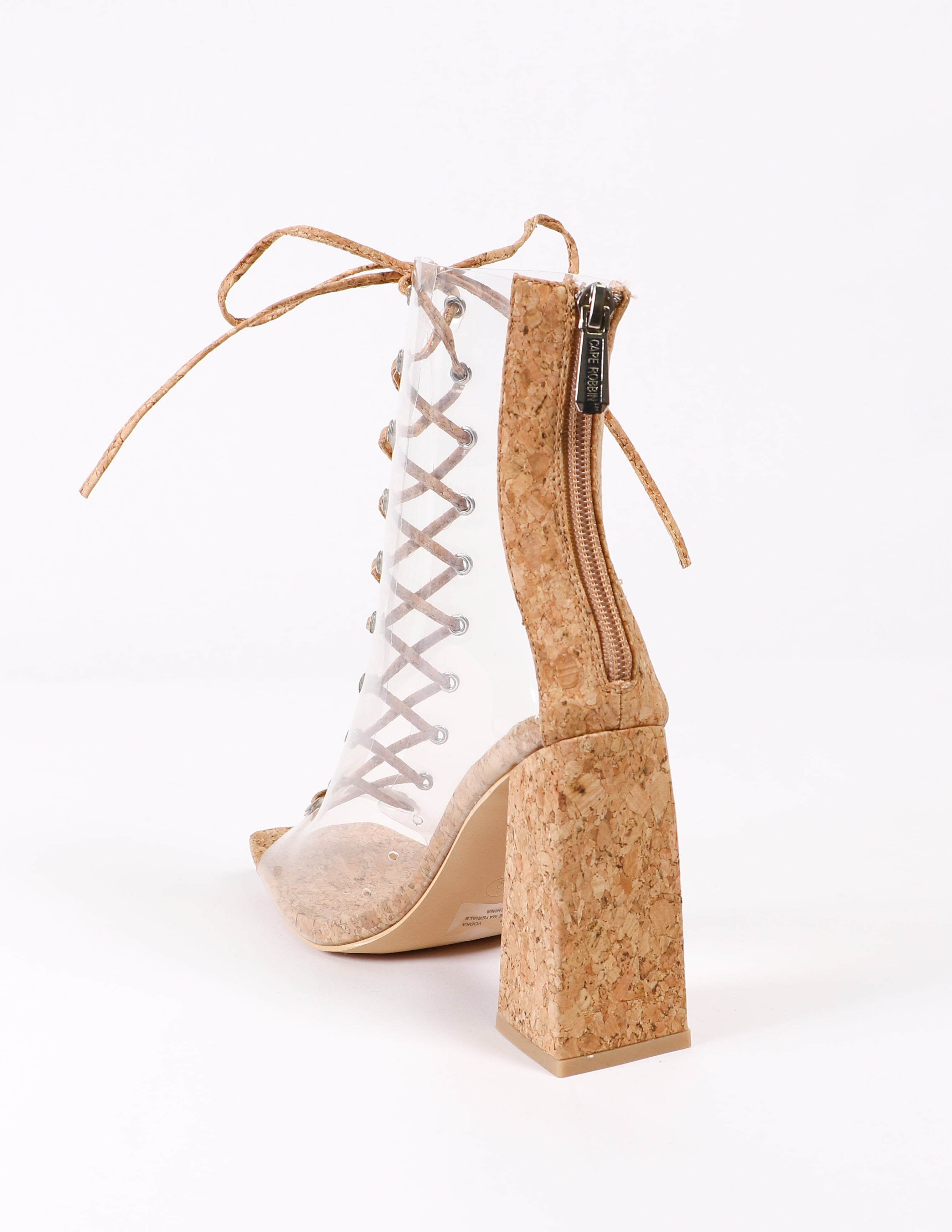 Back of the cork clear lace up heels with back zipper - elle bleu shoes