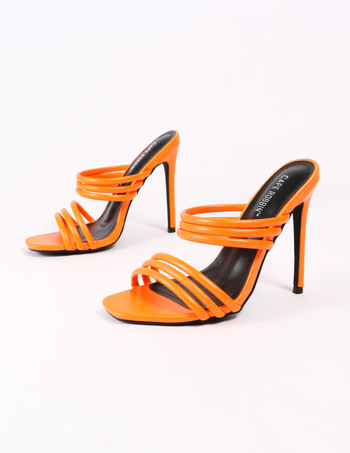orange strappy heels and black insole - elle bleu shoes