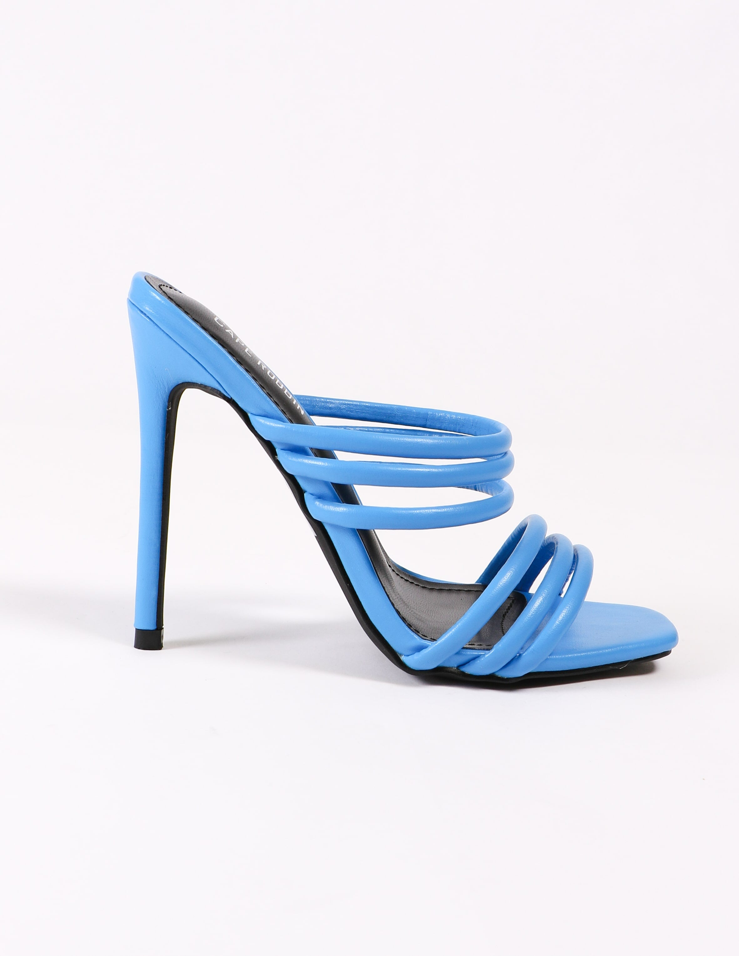 side view of the blue strappy heel on white background - elle bleu
