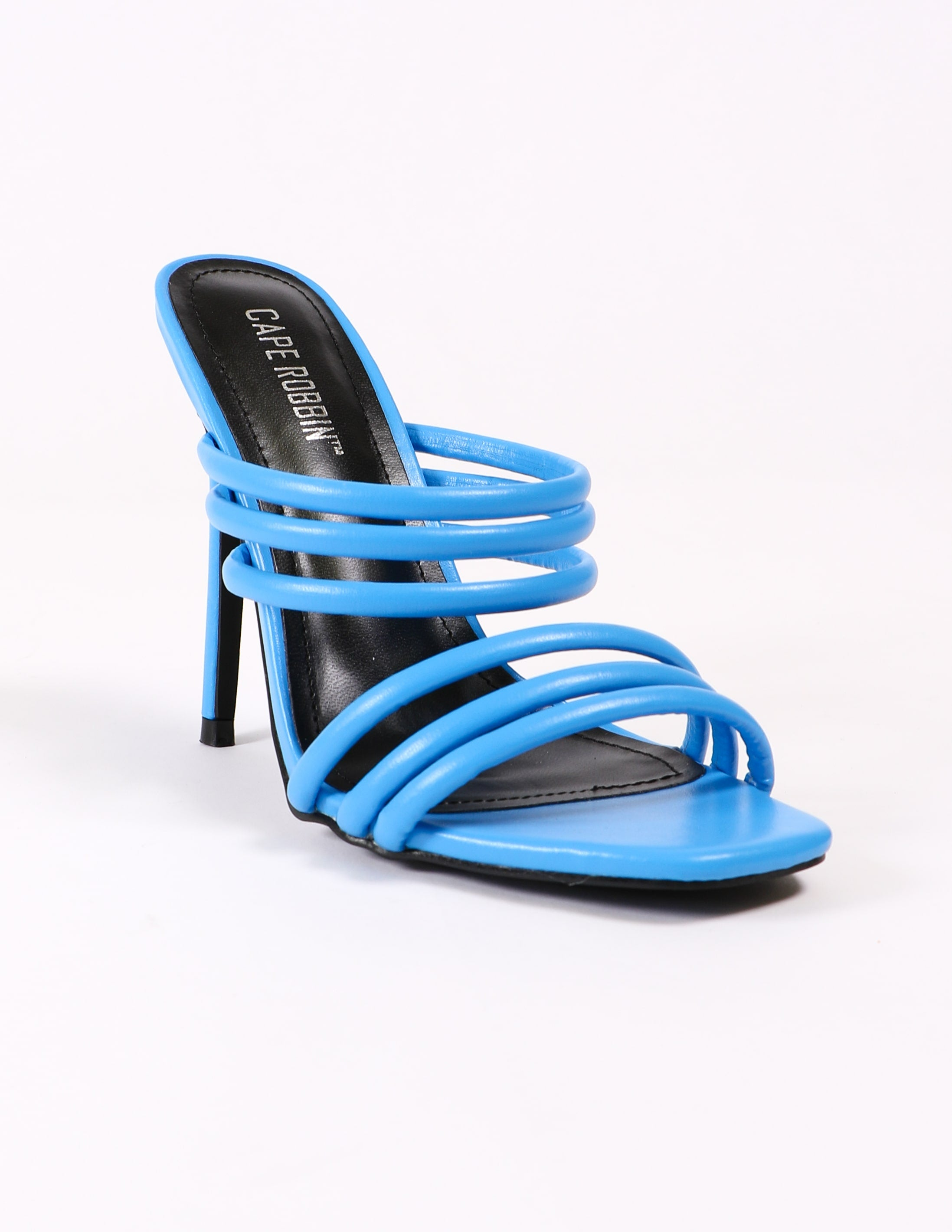 Front of the strappy blue heel - elle bleu shoes