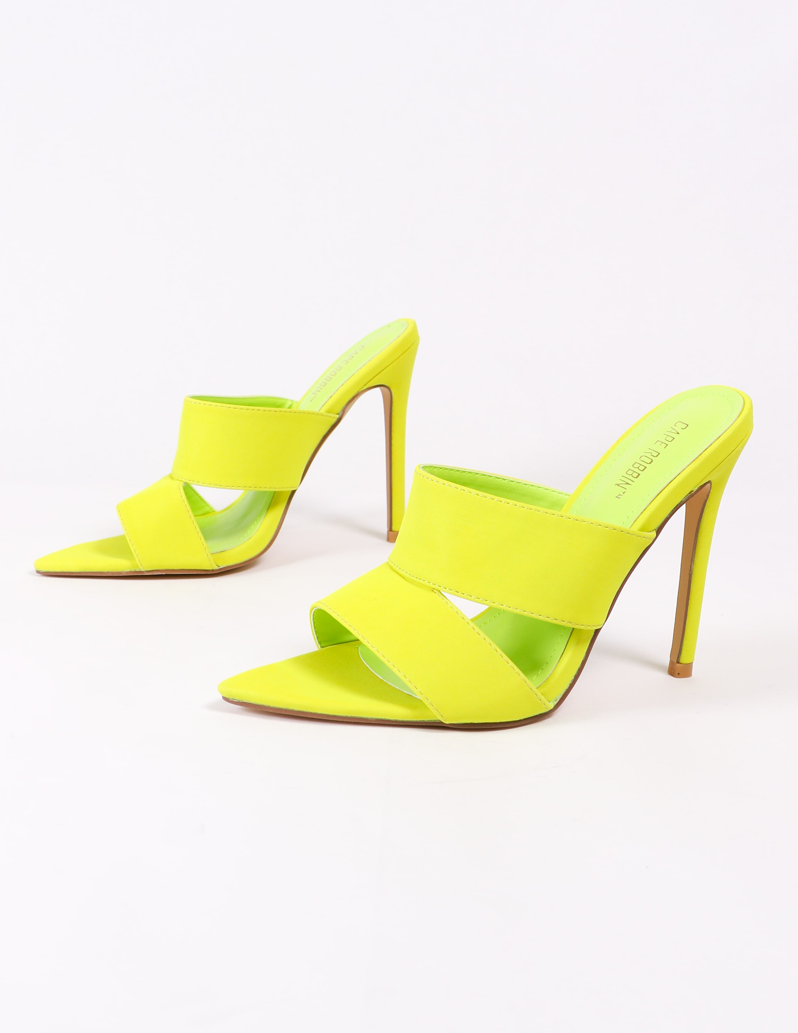 lime green heels on white background - elle bleu shoes