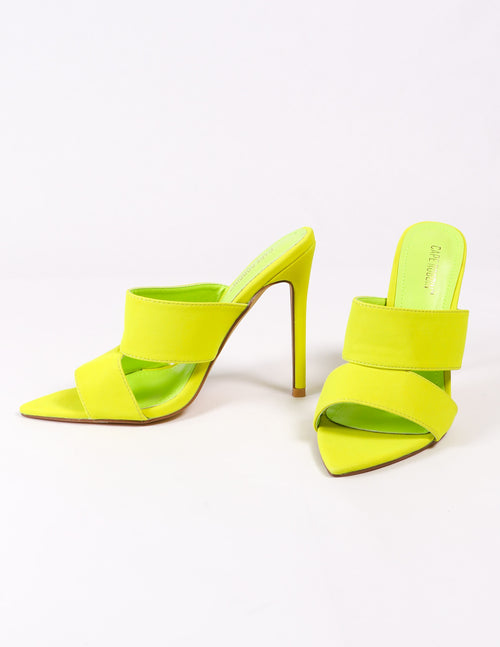 lime green heel on white background - elle bleu shoes