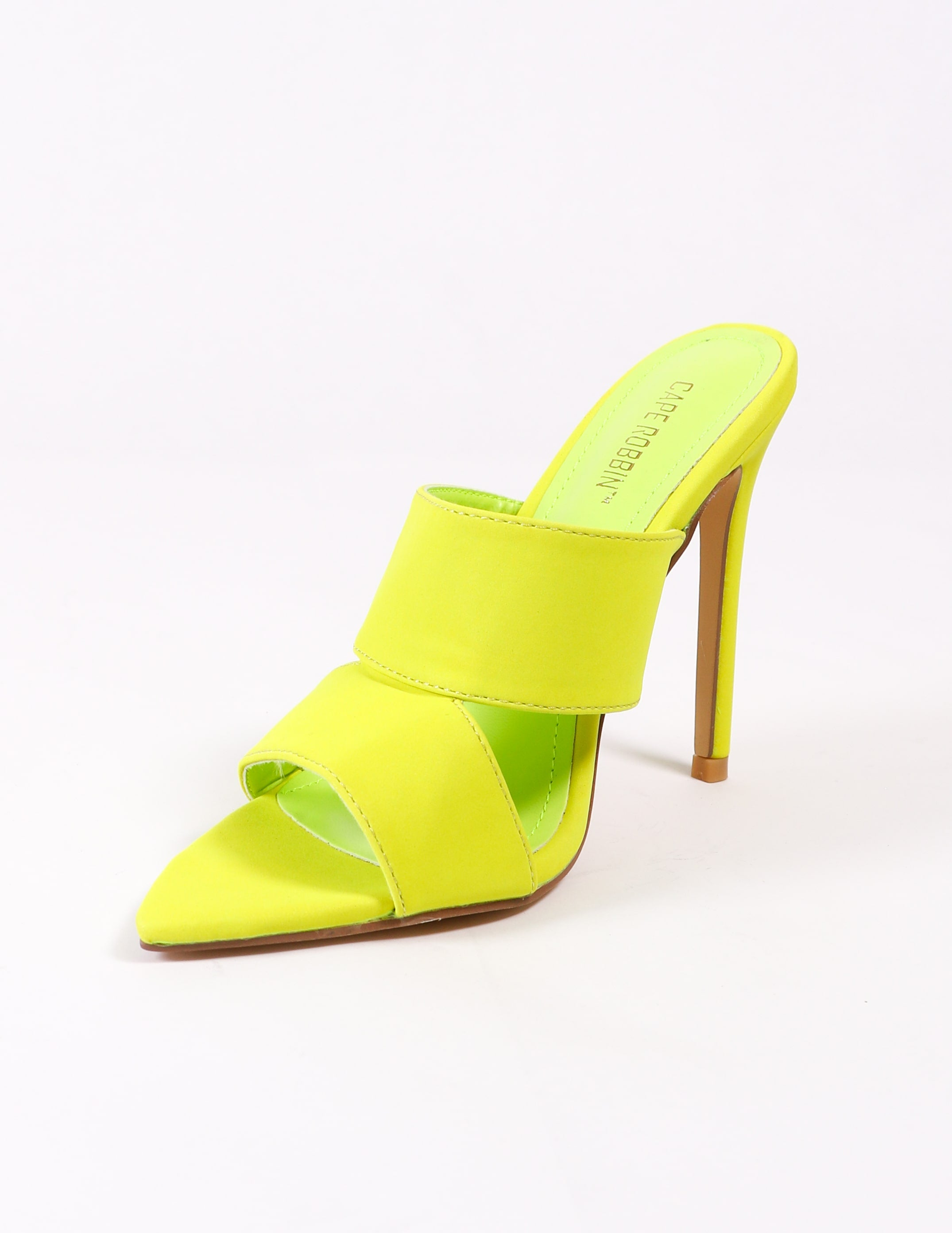 pointed sole open toe lime green heel - elle bleu shoes