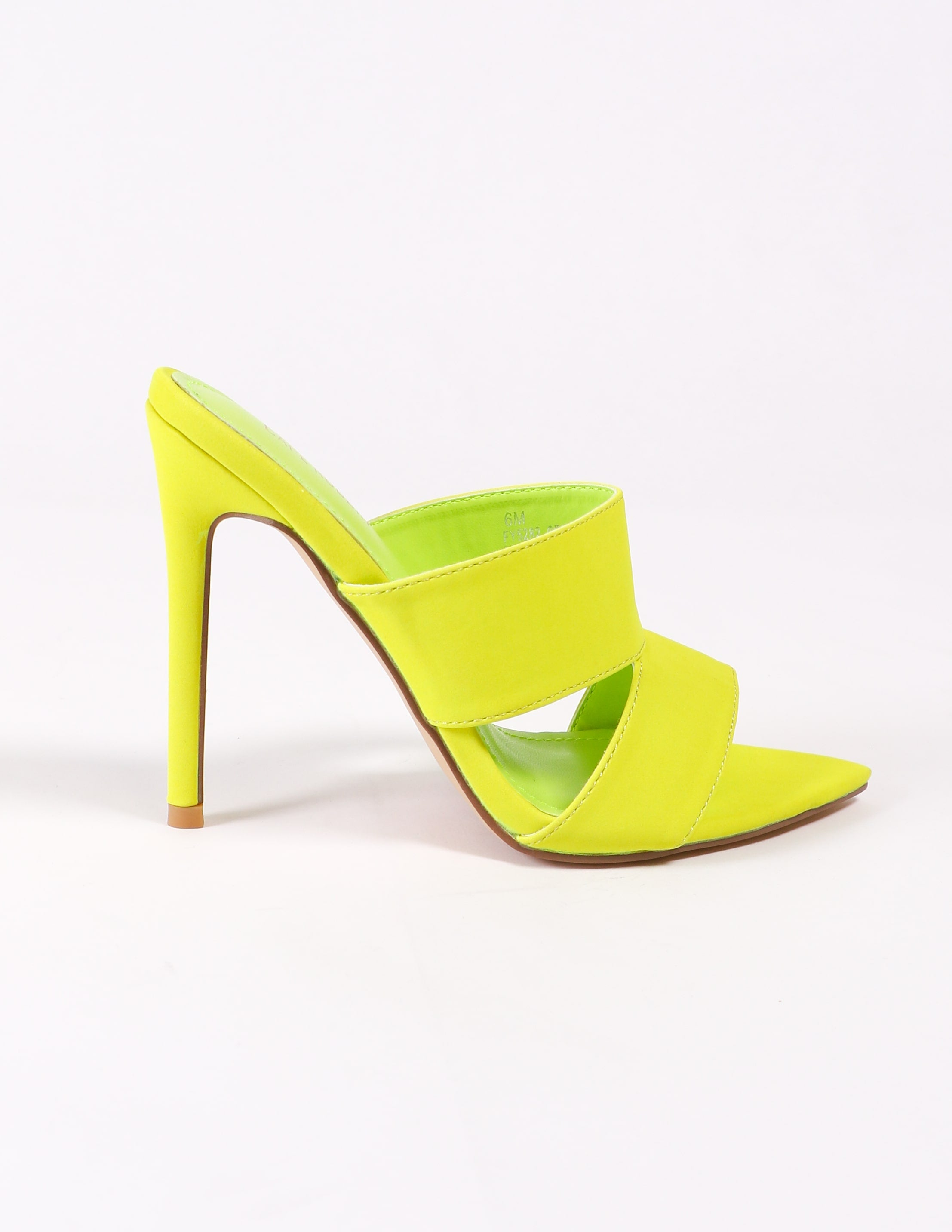 side of the lime green highlight stiletto heel on white background
