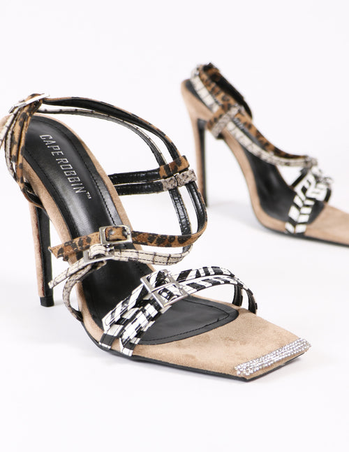 close up of the strappy animal print heels - elle bleu shoes