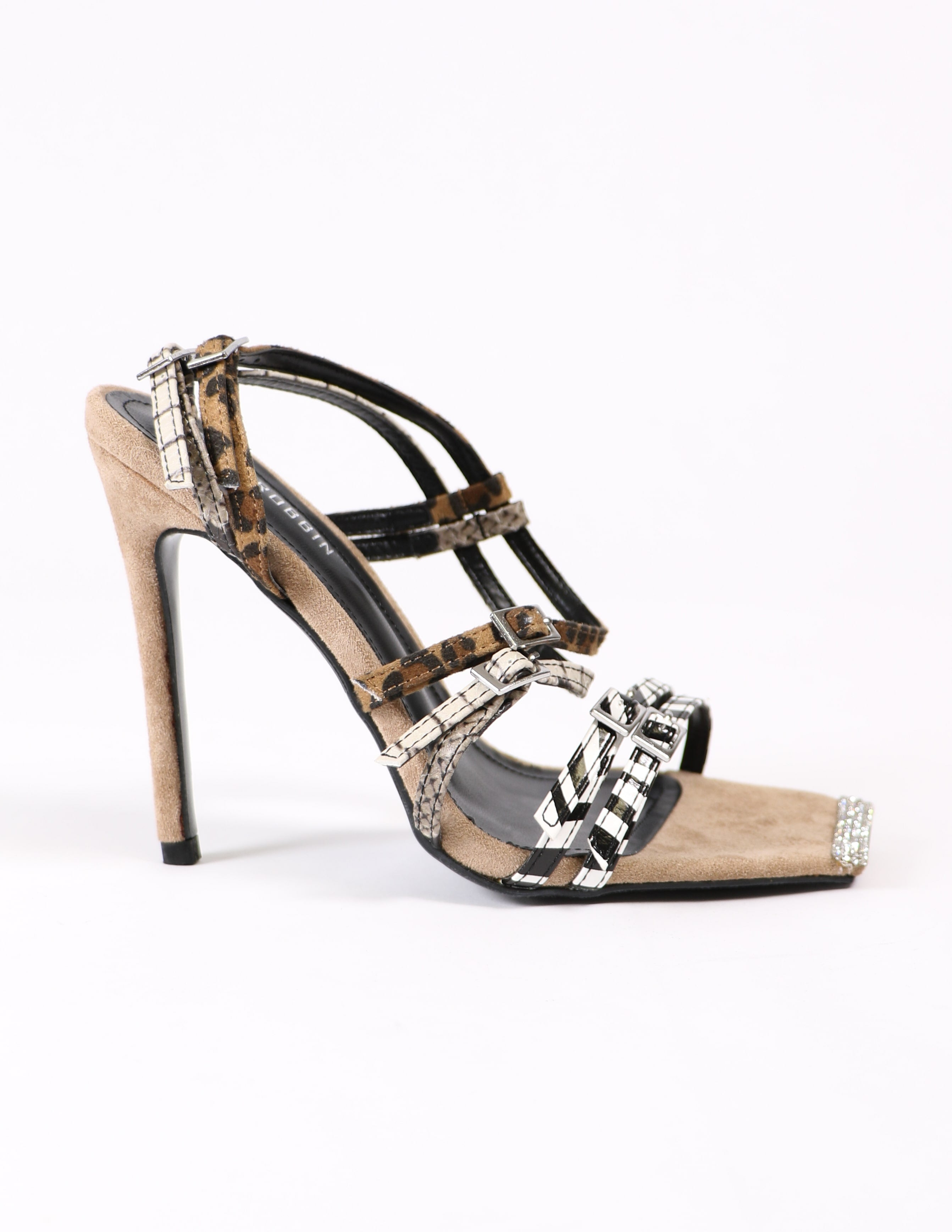 strappy buckle animal print heels on white background - elle bleu shoes