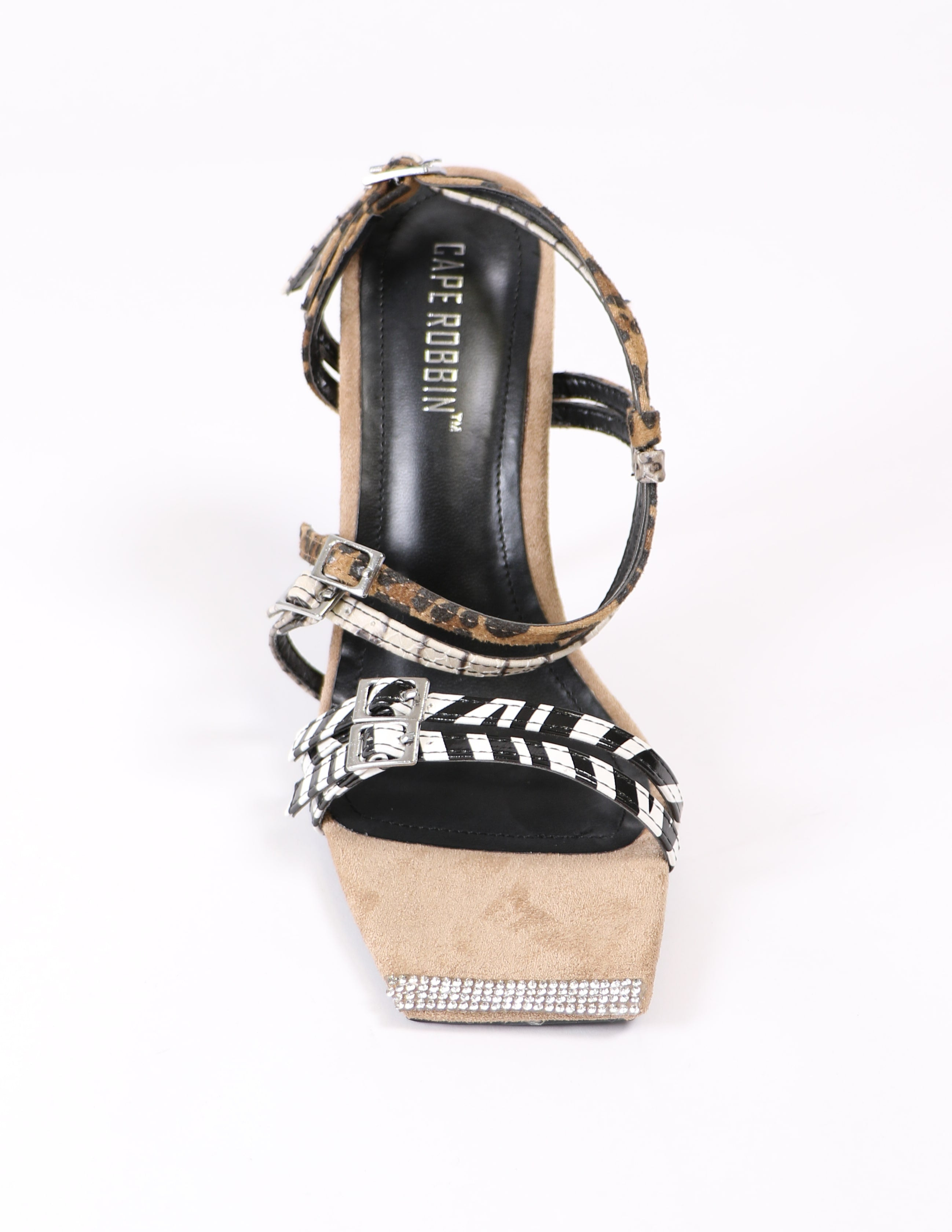 top of the animal print strappy heel on white background