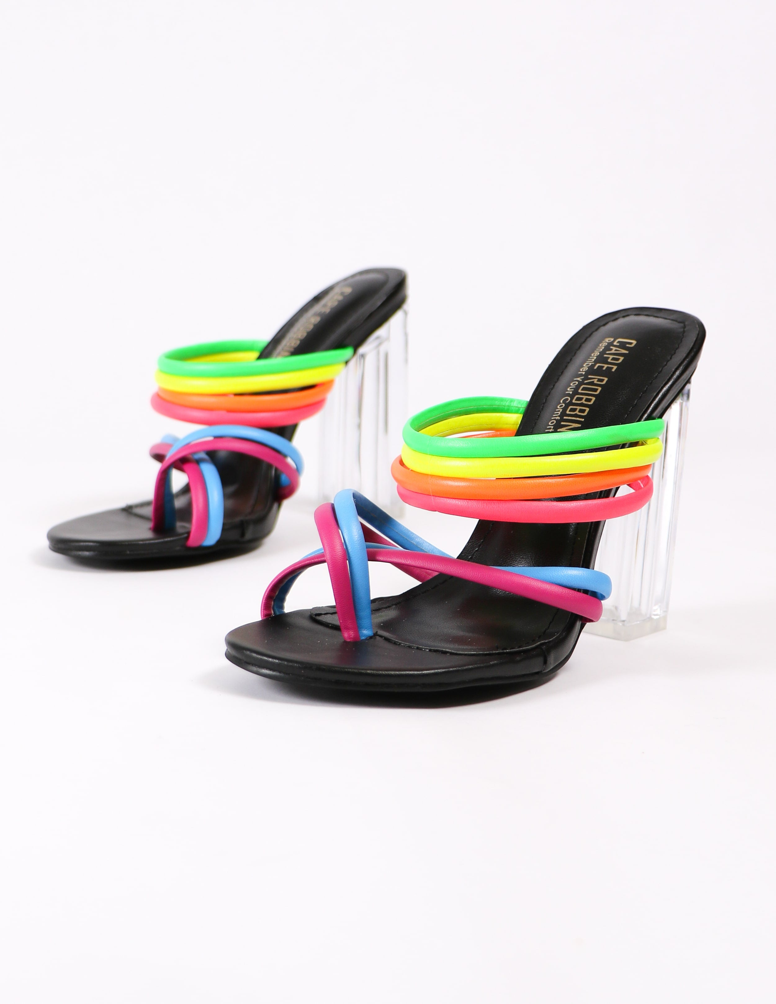 leading rainbow crystal block heels on white background
