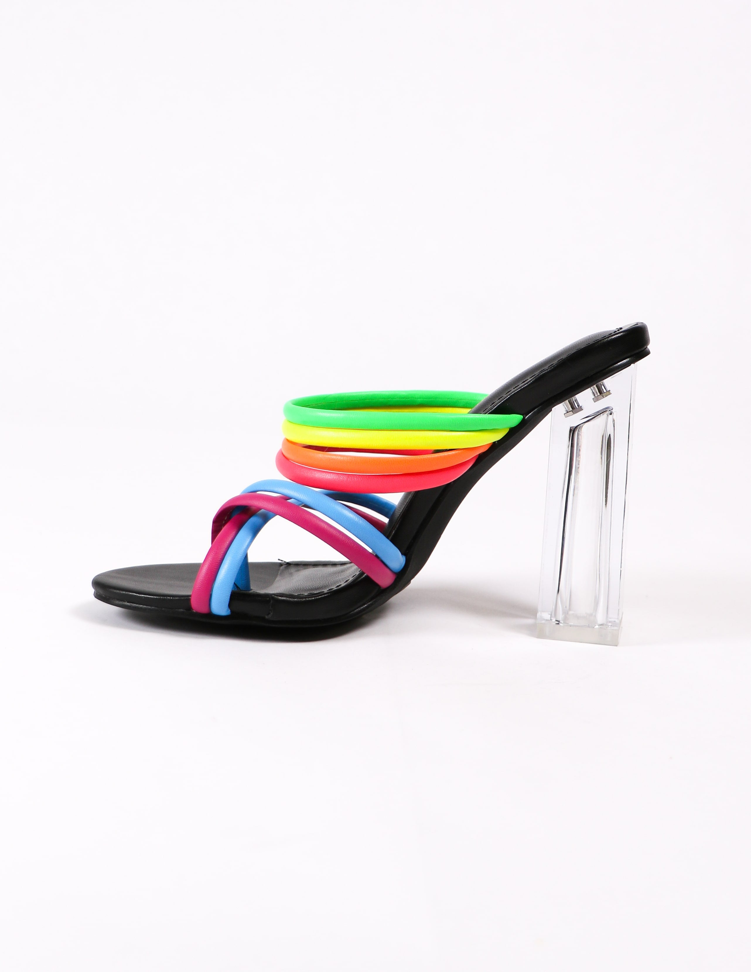 side of the leading rainbow shoe with crystal heel