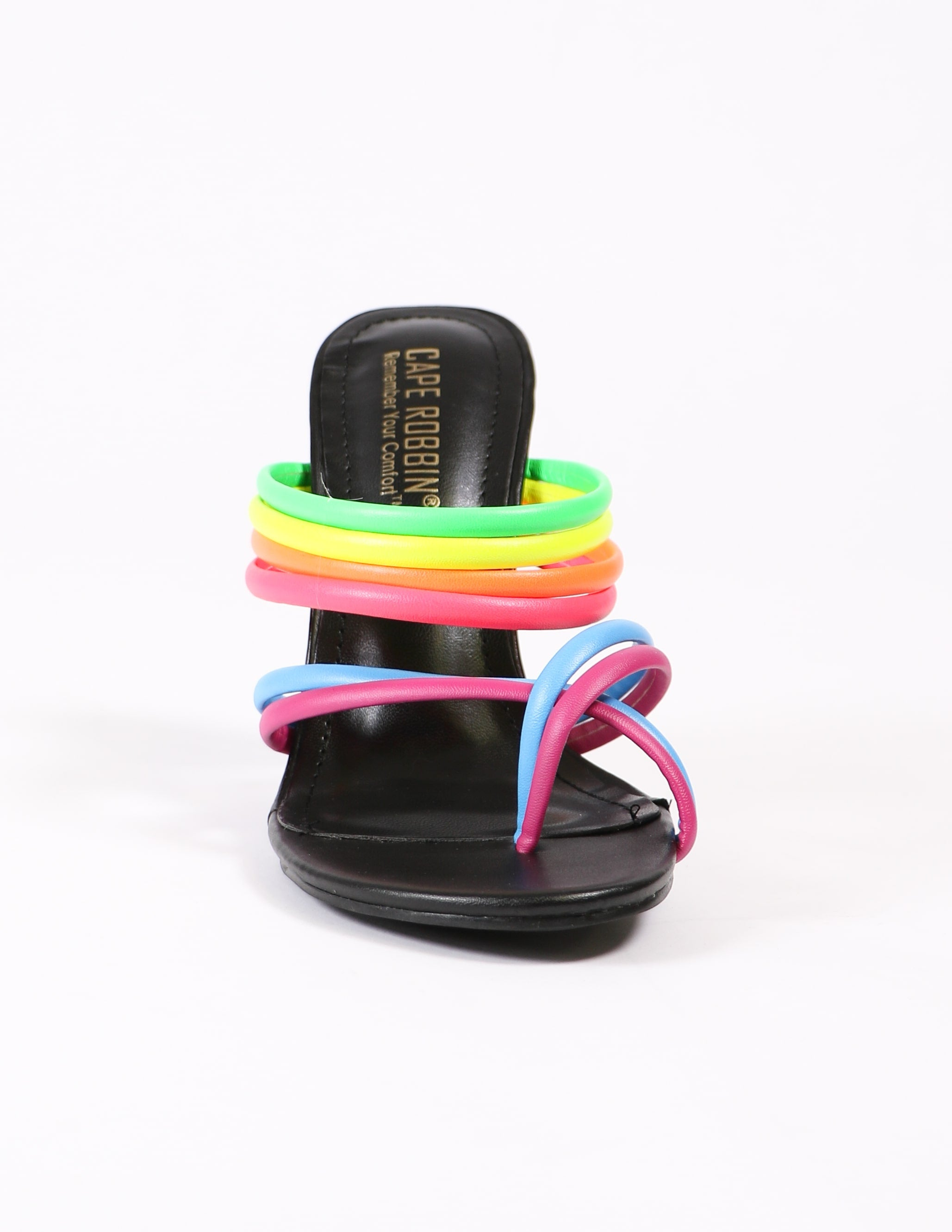 front view of the leading rainbow heels on white background - elle bleu