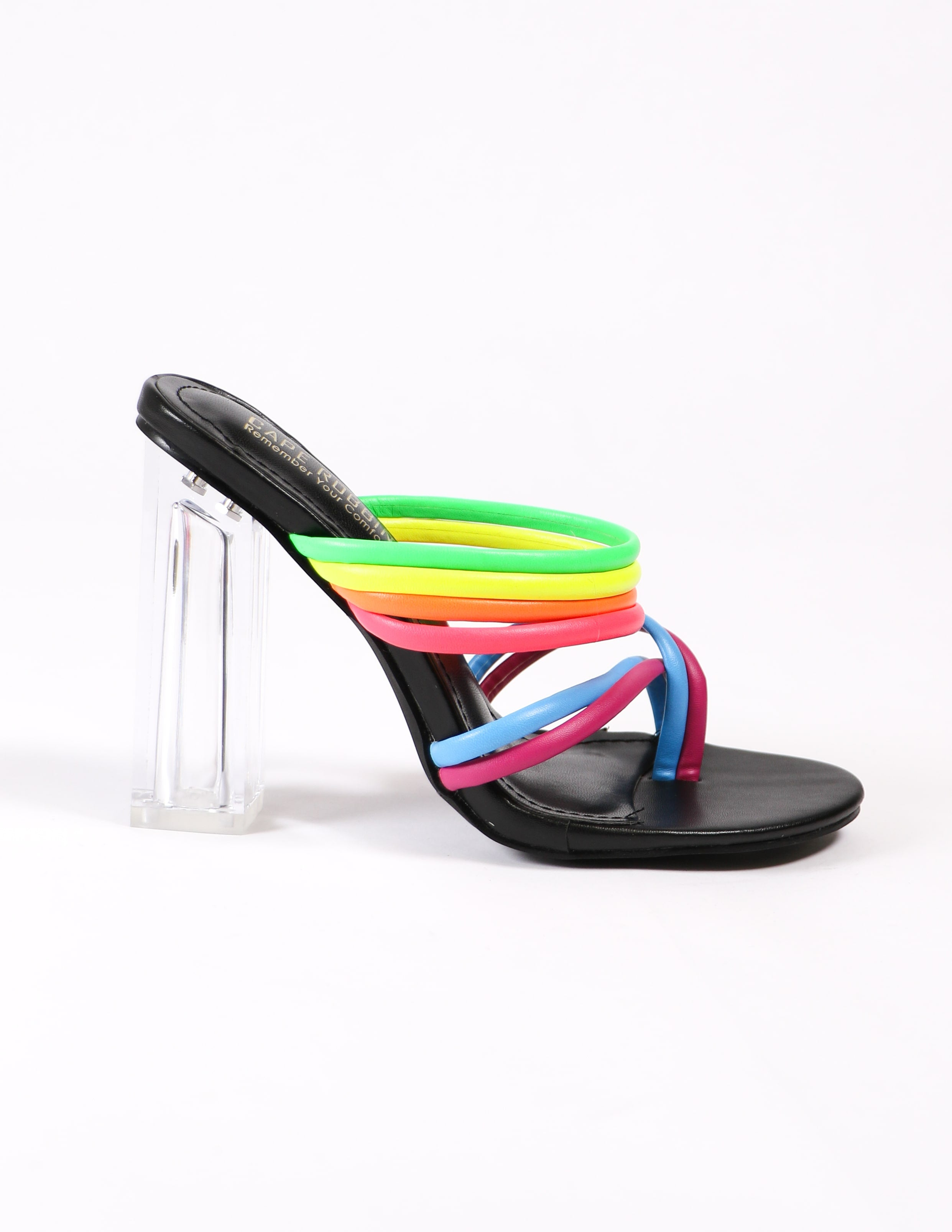 side of the black and rainbow leading rainbow heels on white background