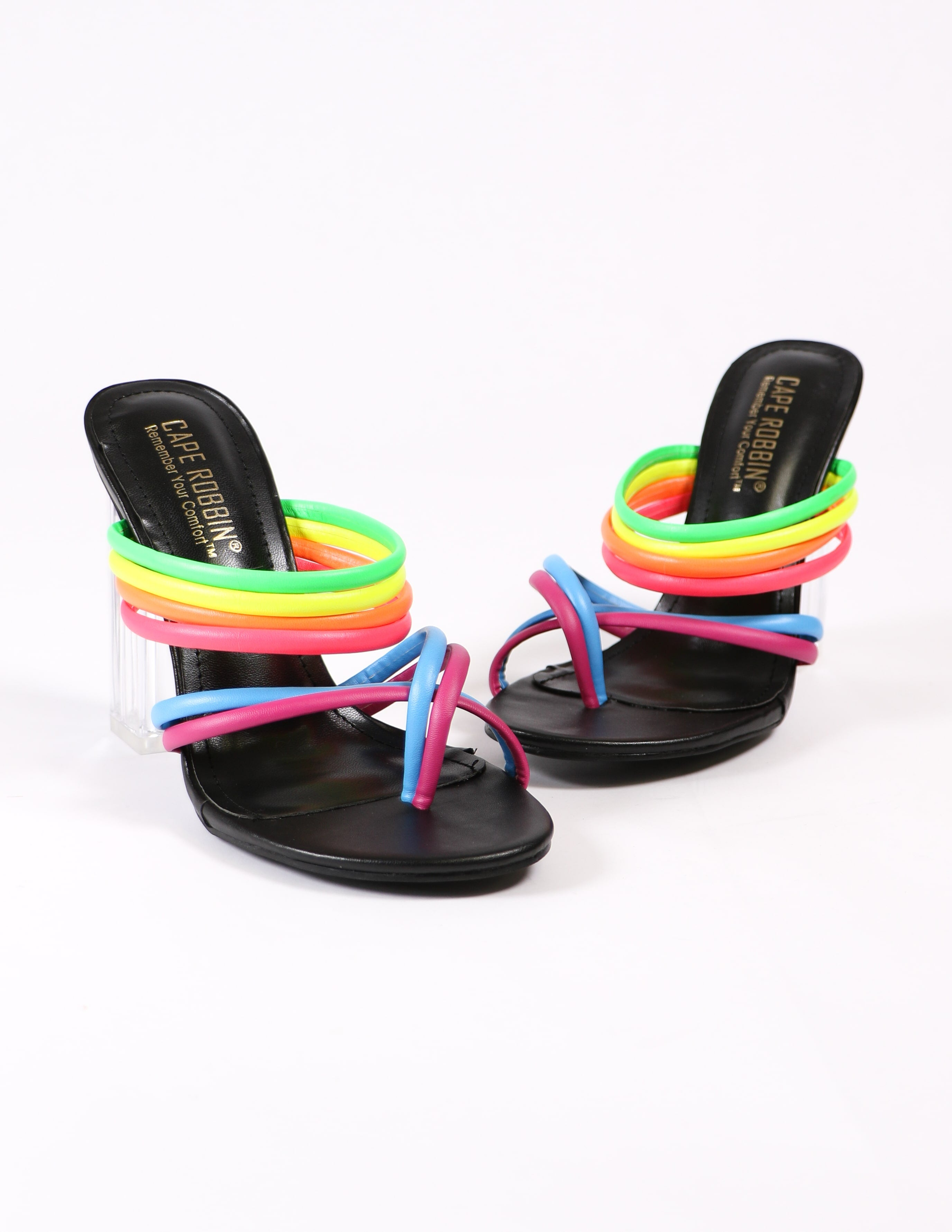 leading rainbow heels on white background - elle bleu shoes