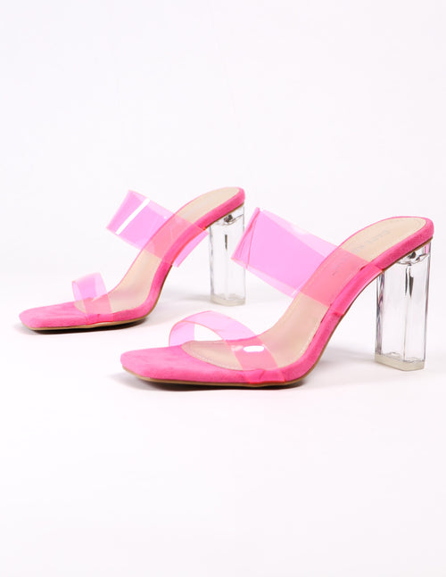 pink strappy crystal heel shoes on white background - elle bleu shoes
