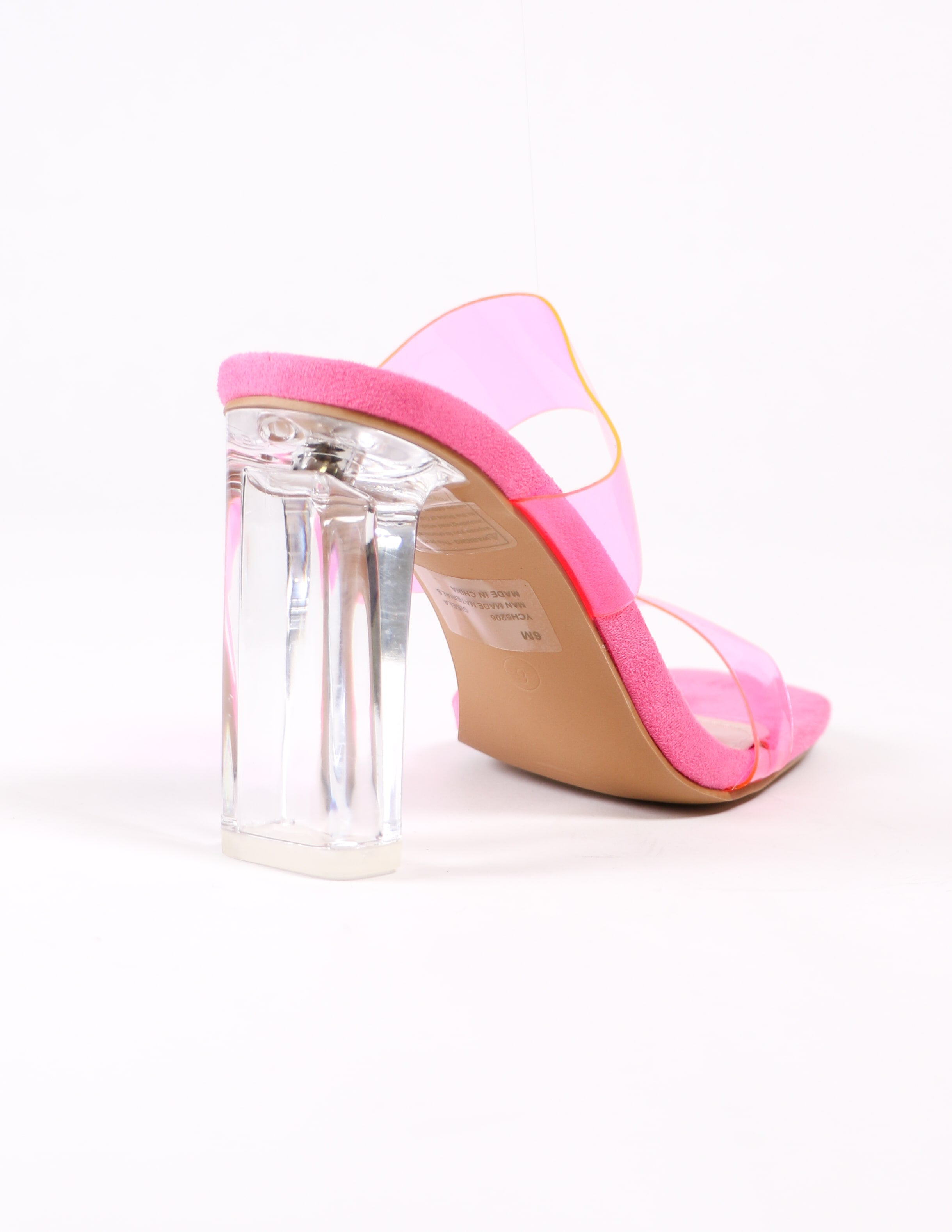 back crystal block heel on pink strappy heel - elle bleu shoes