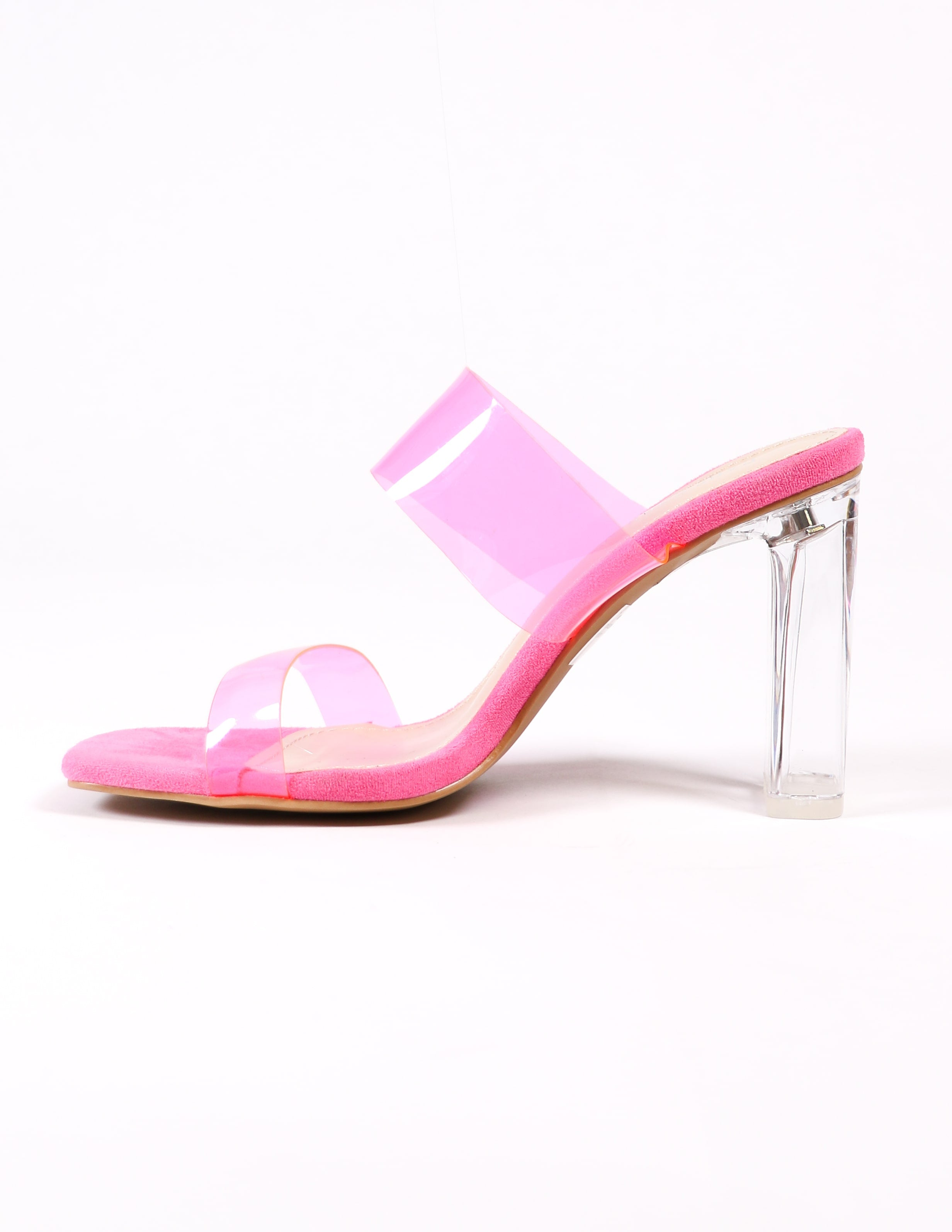 pink strappy heel on white background - elle bleu shoes