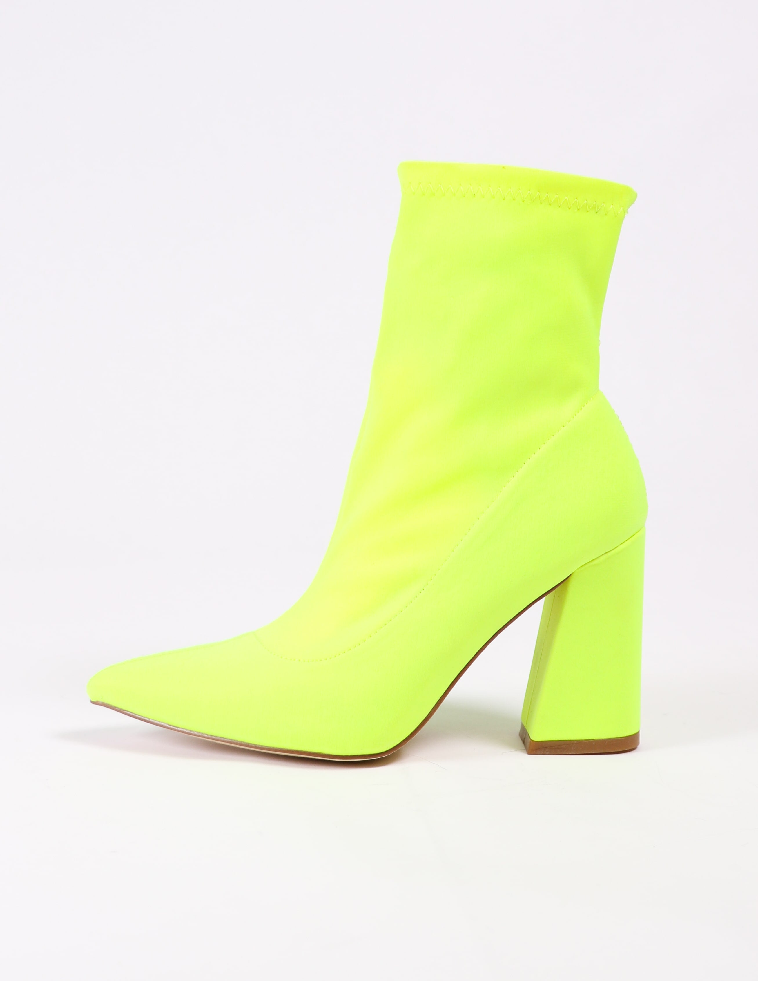 side of the highlight of my life bootie in lime green - elle bleu shoes
