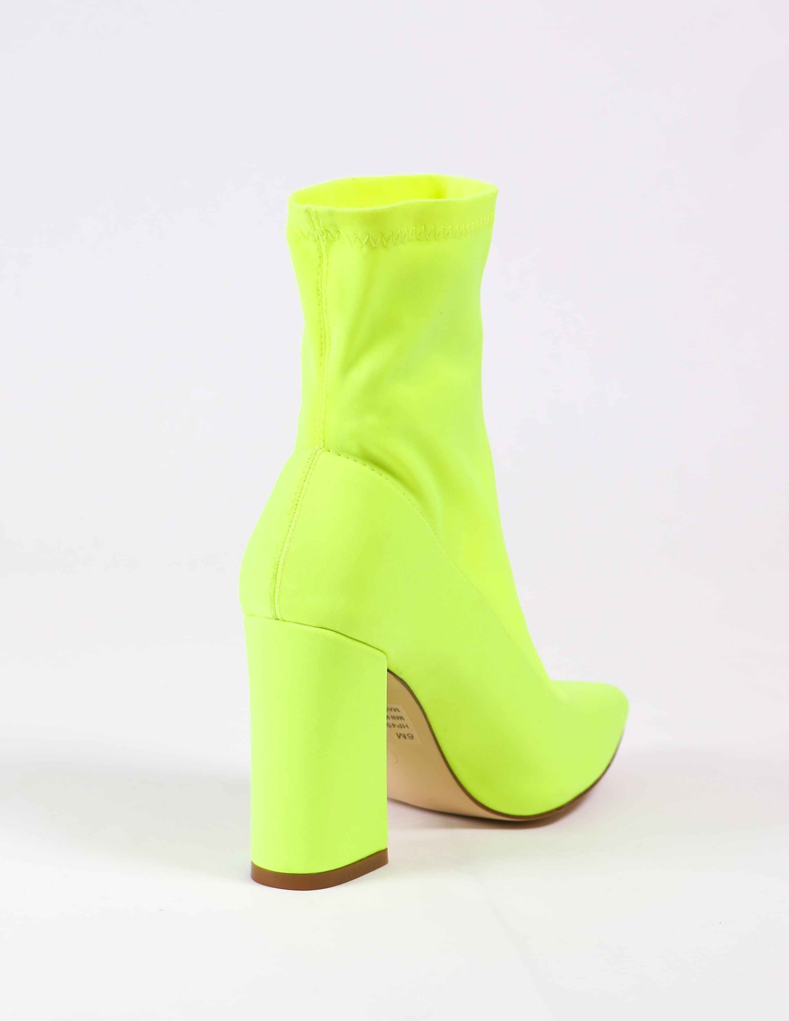back of the highlight of my life bootie in lime - elle bleu shoes