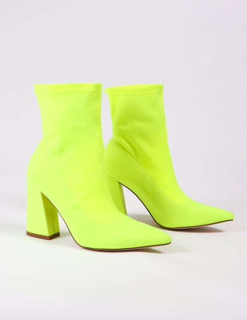 lime green highlight of my life bootie - elle bleu shoes