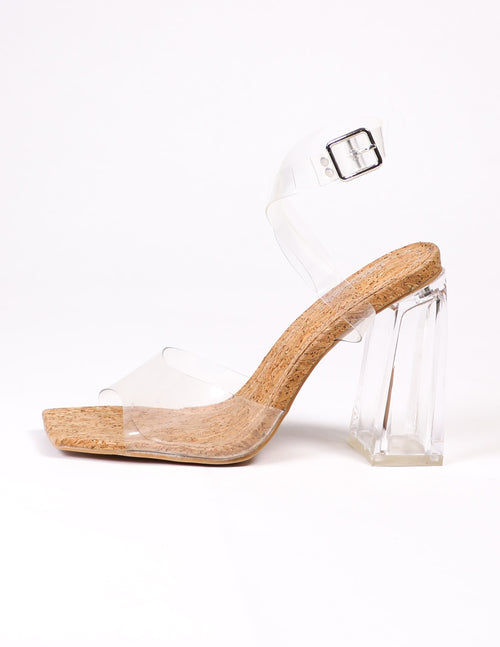 clear your schedule heel on white background - elle bleu shoes