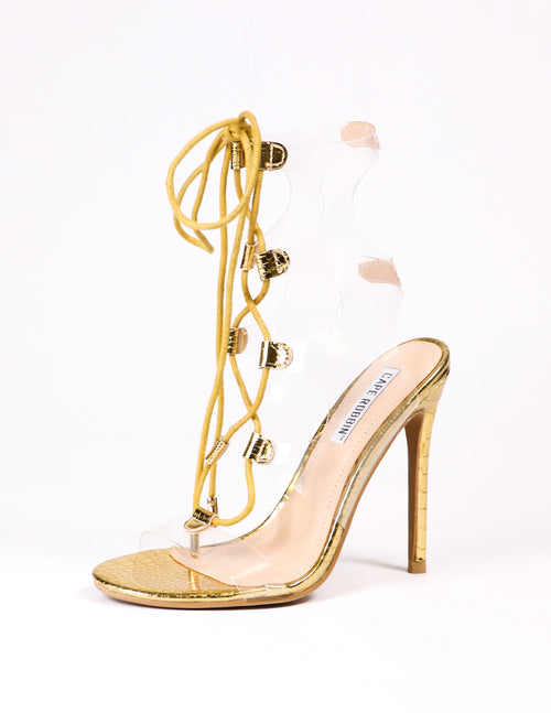 clear and gold lace up pvc heel on white background - elle bleu shoes
