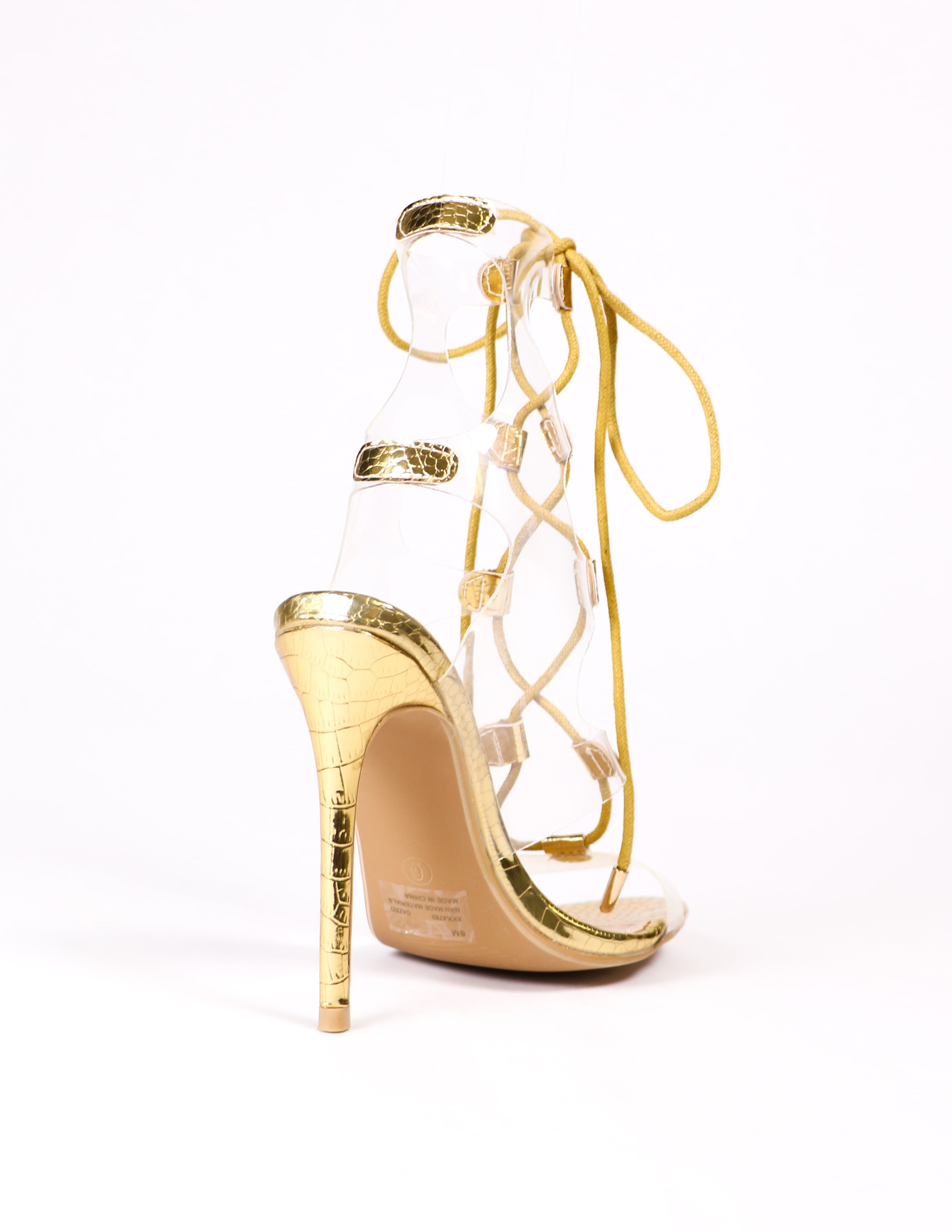 back of the gold and clear pvc heel - elle bleu shoes