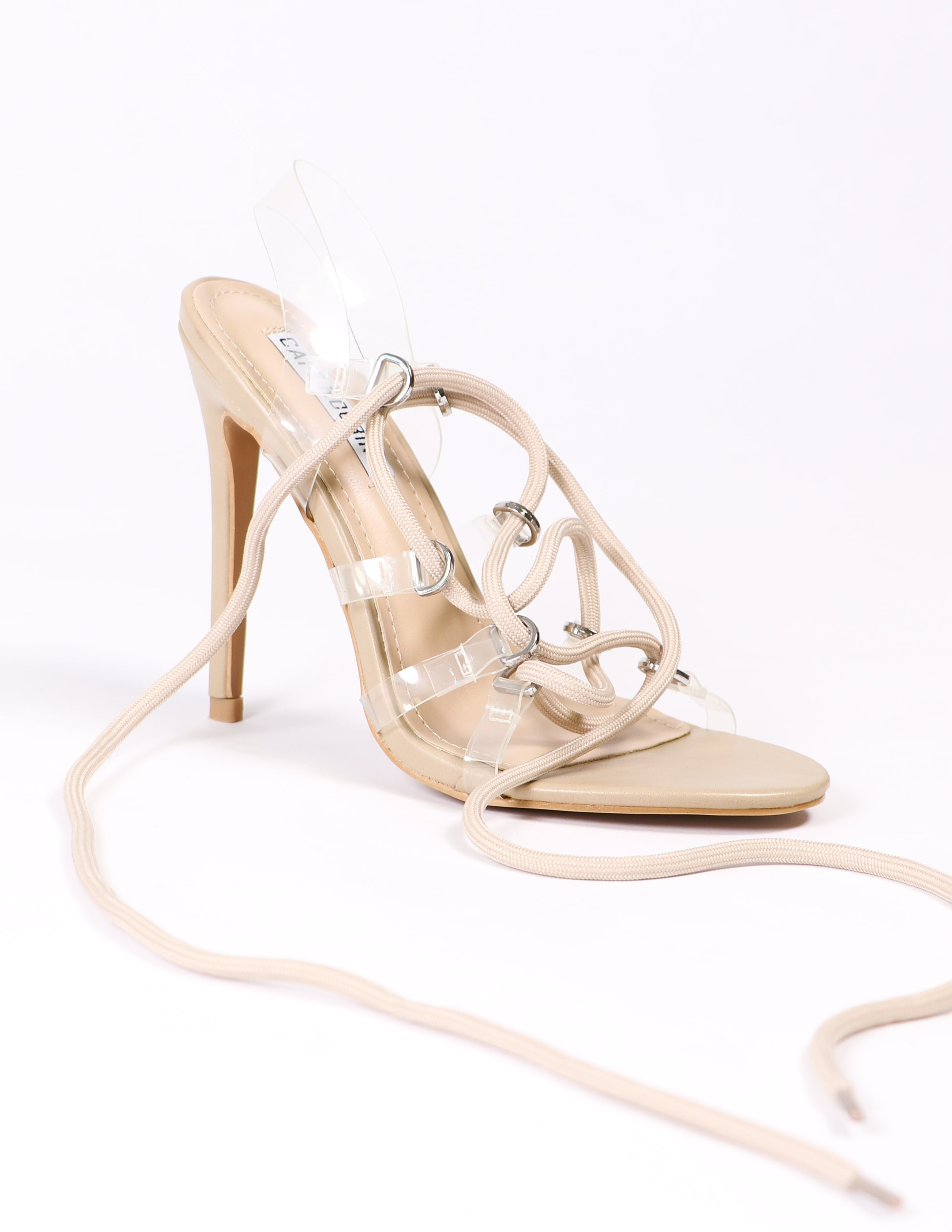 nude lace up and clear heel on white background - elle bleu shoes