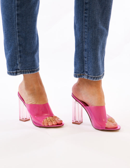 model standing in tickled pink heel - elle bleu shoes