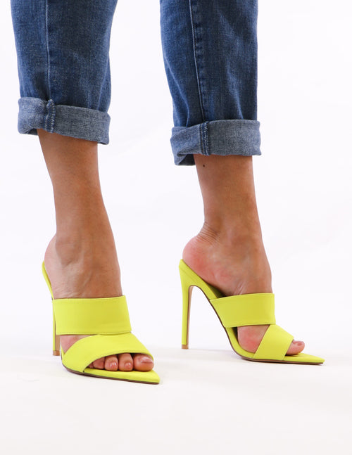 model standing in lime green heel - elle bleu shoes
