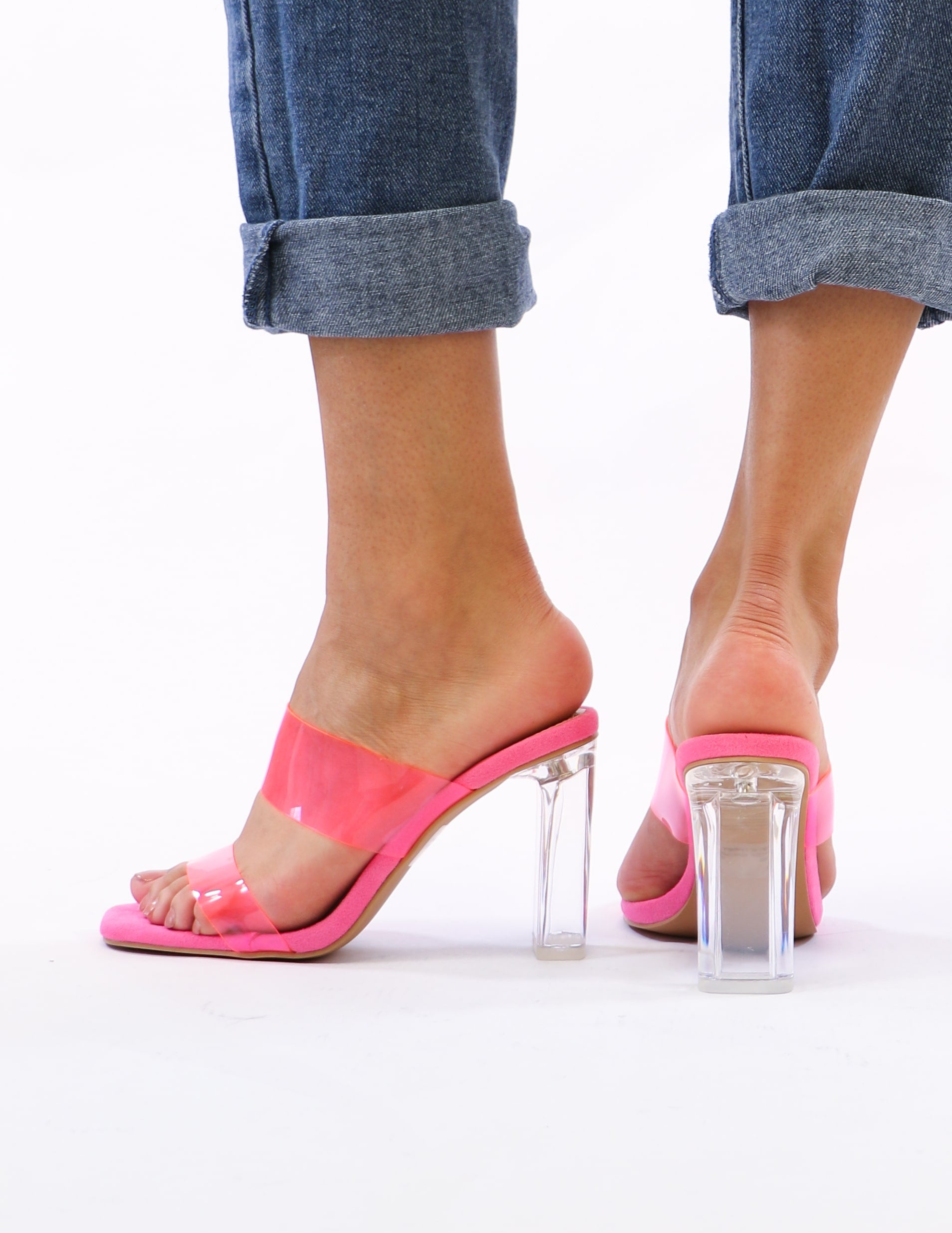 model standing in pink crystal heels - elle bleu shoes