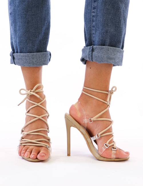 nude and clear lace up heels on model - elle bleu shoes