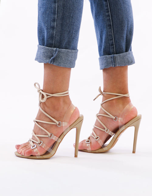 nude lace up and clear heels on model - elle bleu shoes