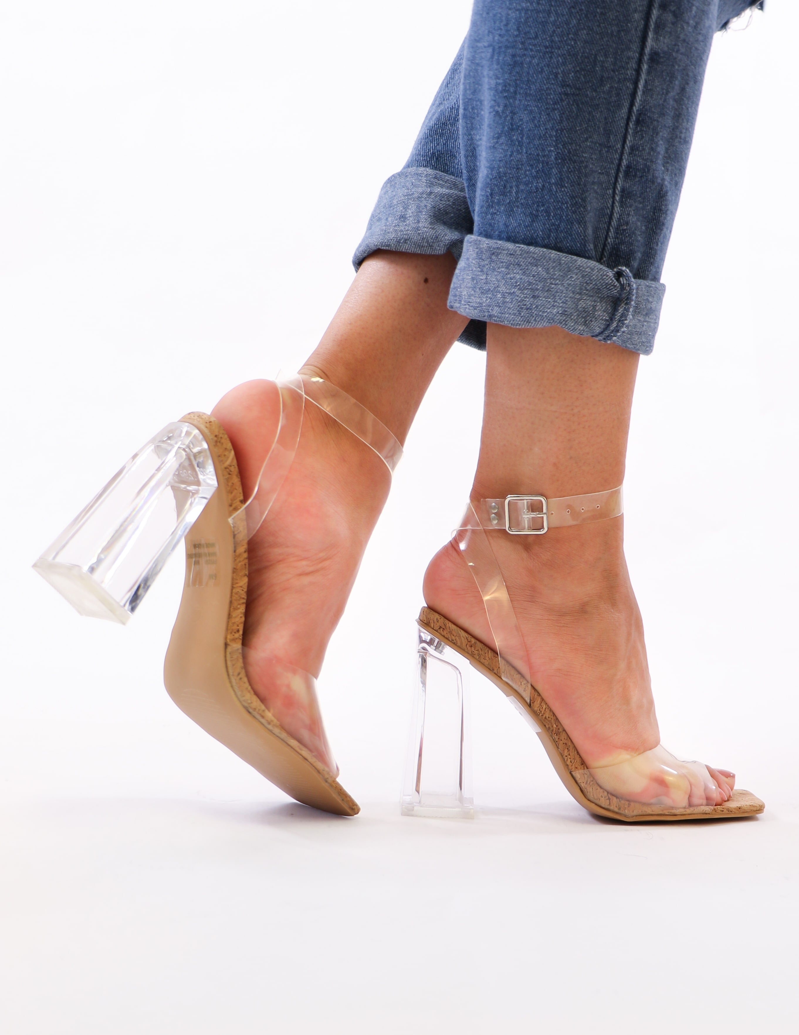 clear your schedule heel on model - elle bleu shoes