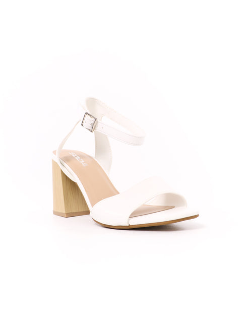 front of the heel my love soda white block sandal wedding heel with silver buckle - elle bleu shoes