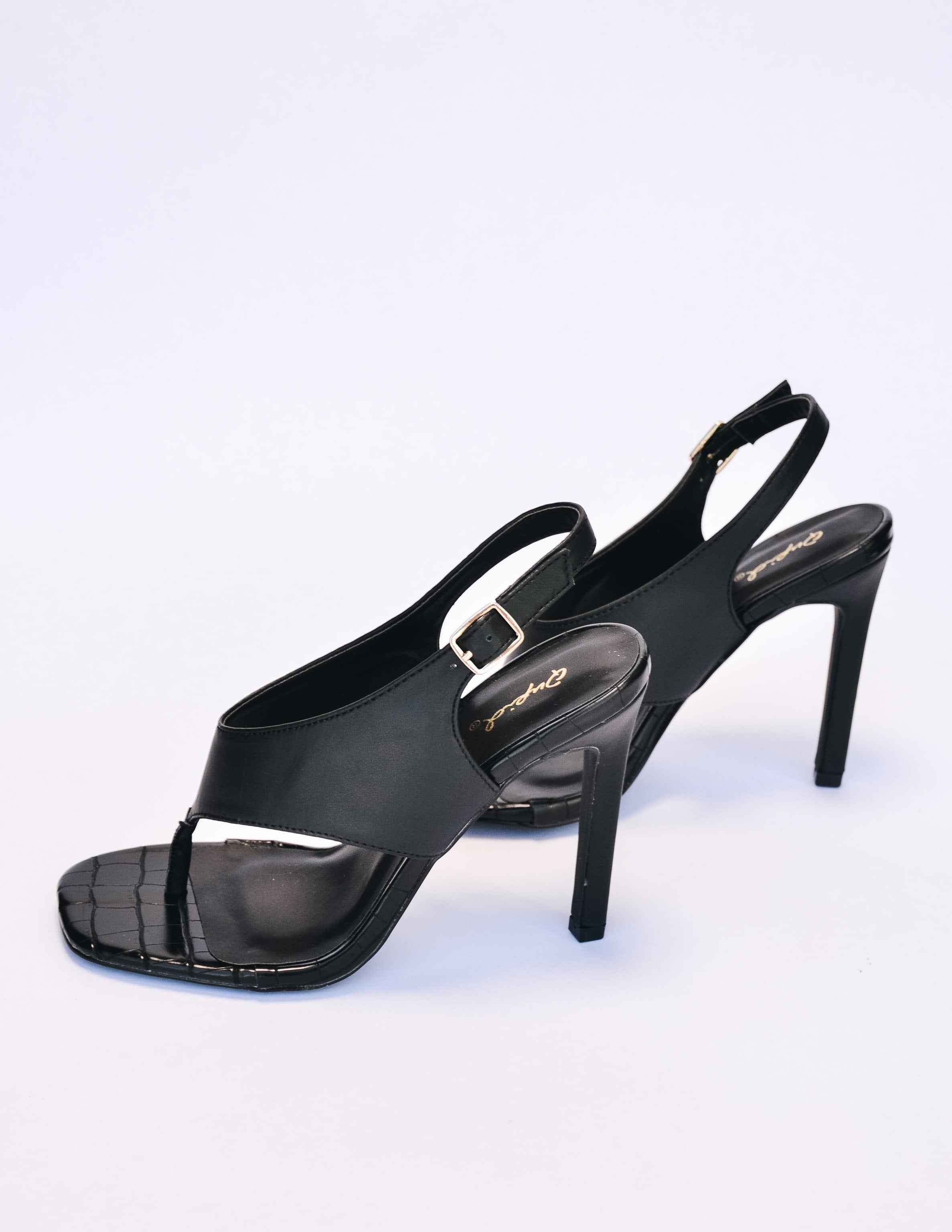 Black faux leather faux croc heel with stilletto heel